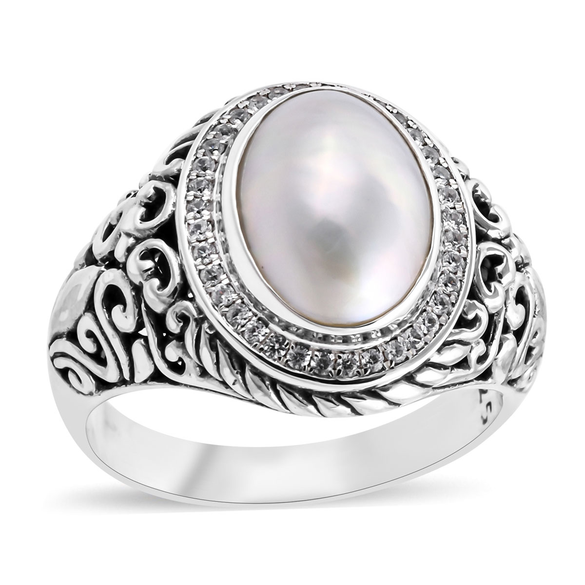 """1/"""" SPINEL WHITE MABE PEARL 925 STERLING SILVER pendant CLEARANCE"""