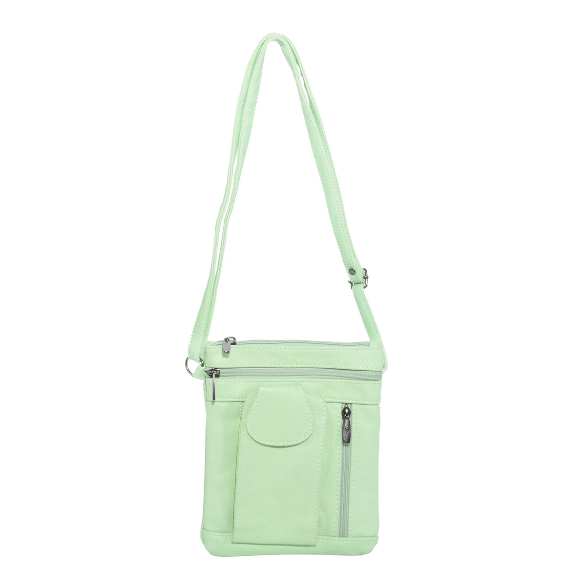 Nyc Closeout Mint Leather Crossbody Bag With Phone Compartment 9x7