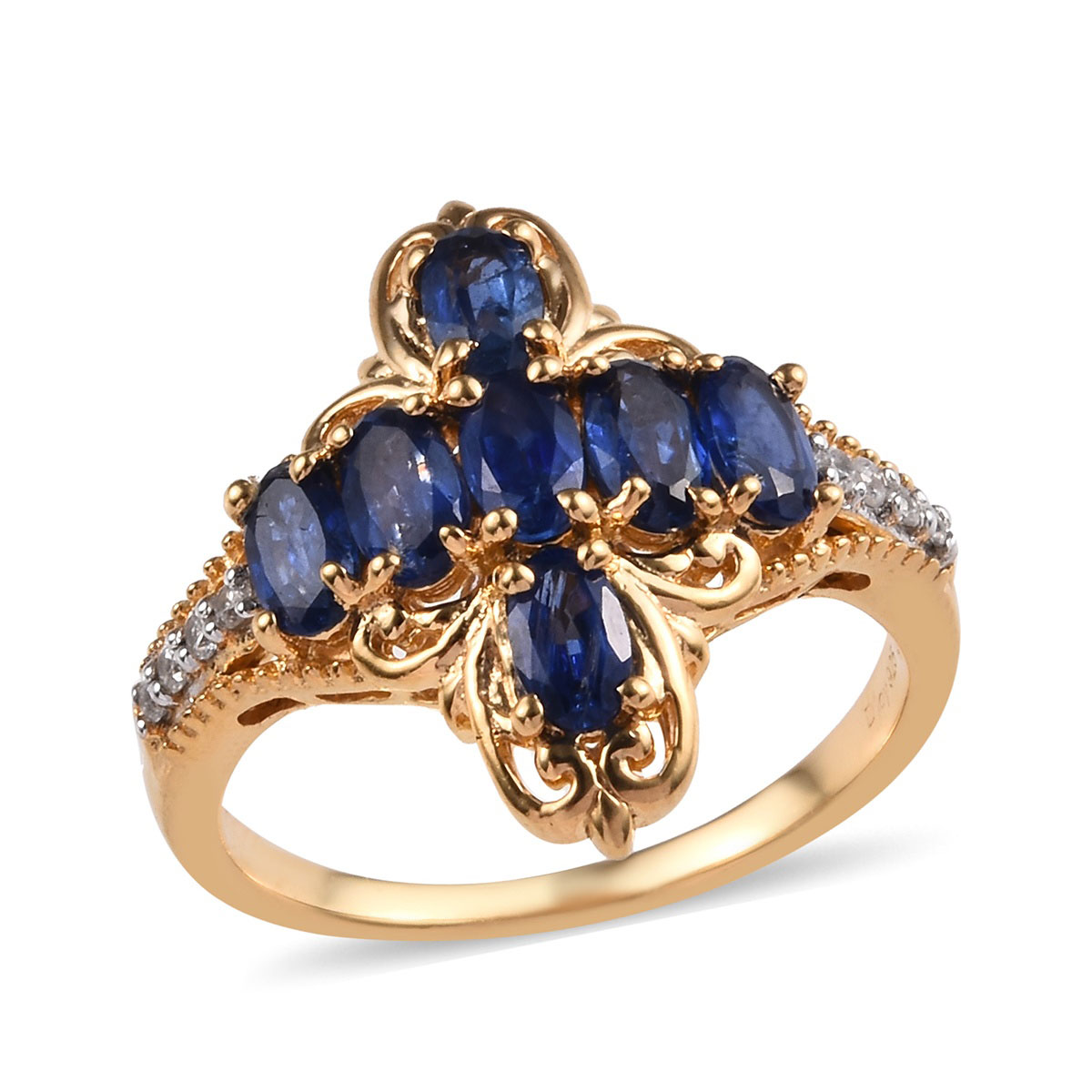 Statement Ring 925 Sterling Silver Vermeil Yellow Gold Oval Blue Zircon Jewelry for Women Size 10 Ct 1.5
