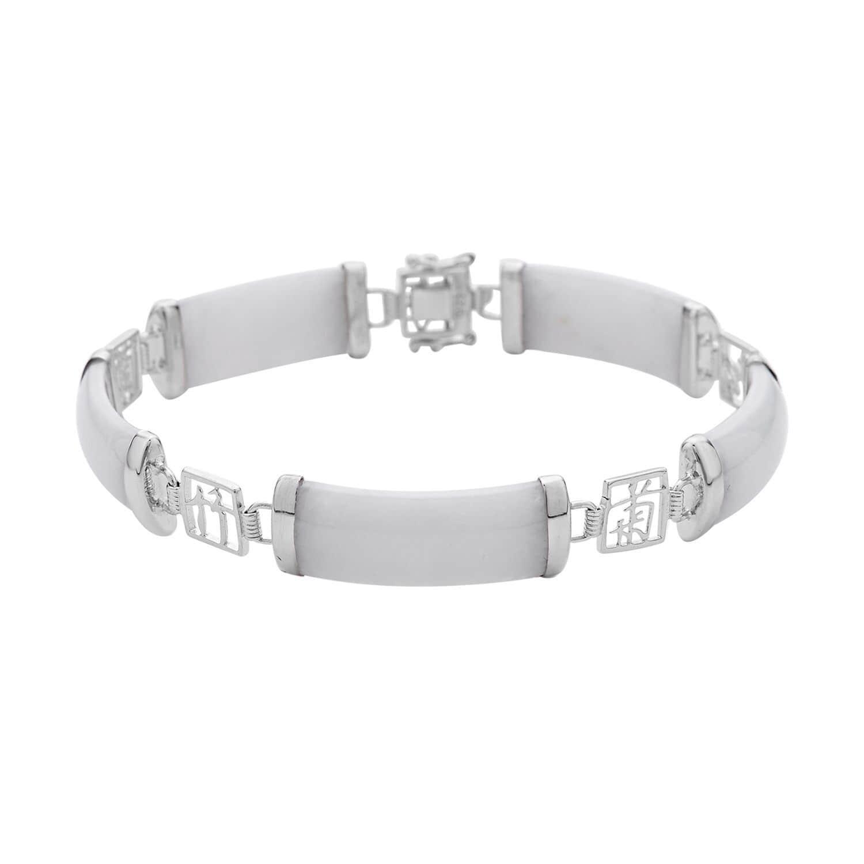 Burmese White Jade Station Bracelet In Sterling Silver 6 50 37 Ctw