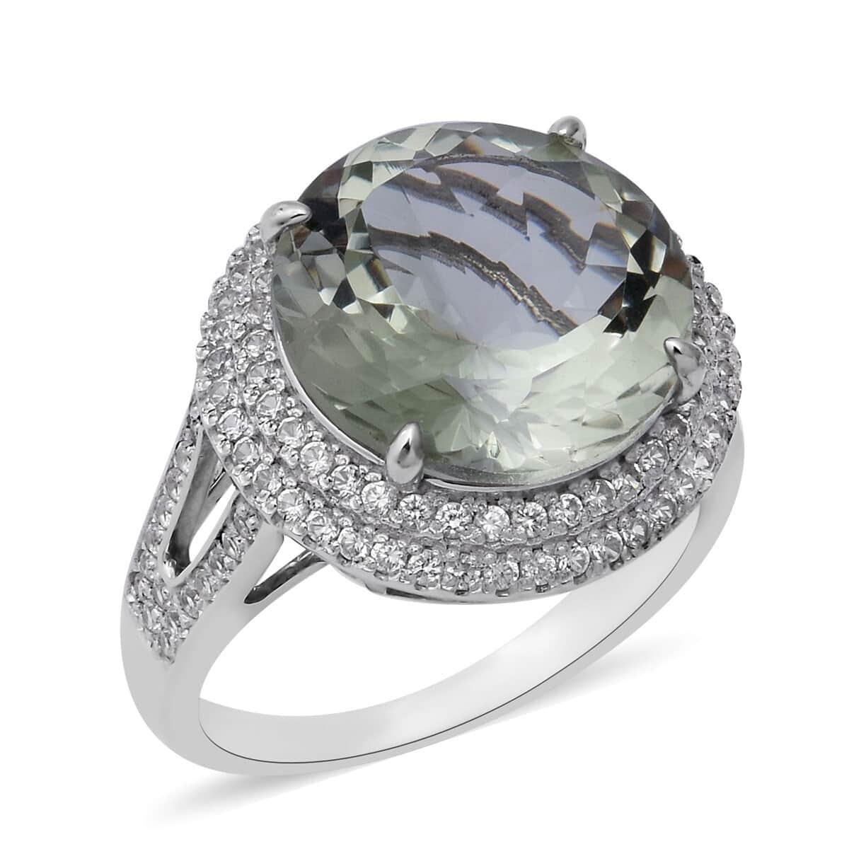 Green Amethyst with Cubic Zircon 925 Sterling Silver Split Shank Ring