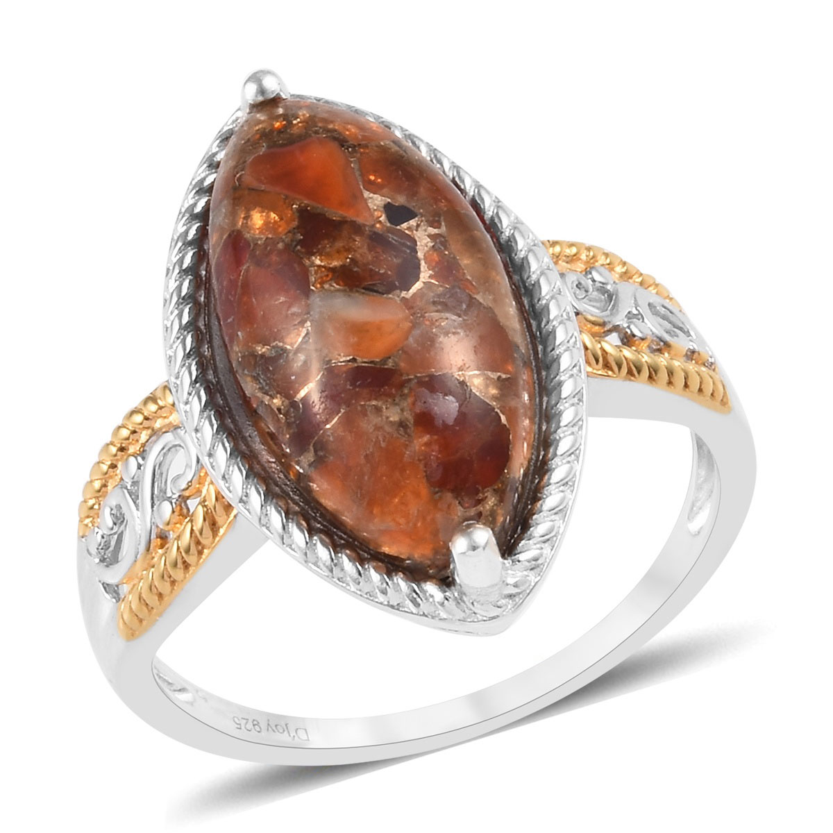 Sterling Silver 14K Gold Plated Jalisco Fire Opal Trilogy Ring