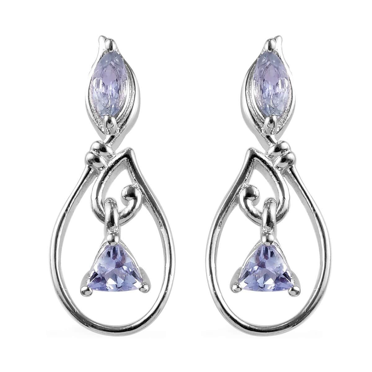 Tanzanite Drop Dangle Earrings Platinum Plated Silver Sky Blue Topaz Diopside