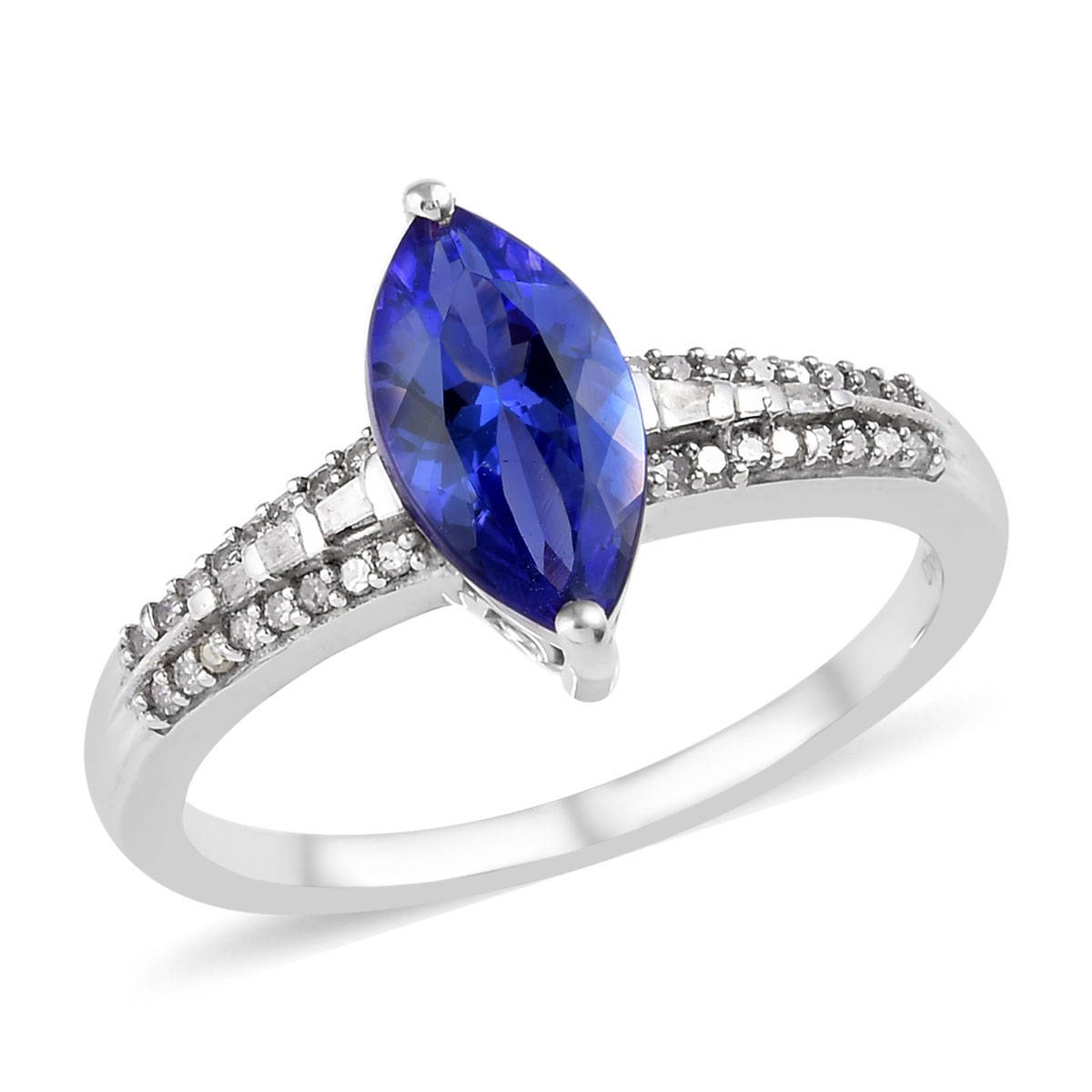 Tanzanite Zircon Engagement Ring Silver Platinum Plated for Women Size 6 Ct 1.5