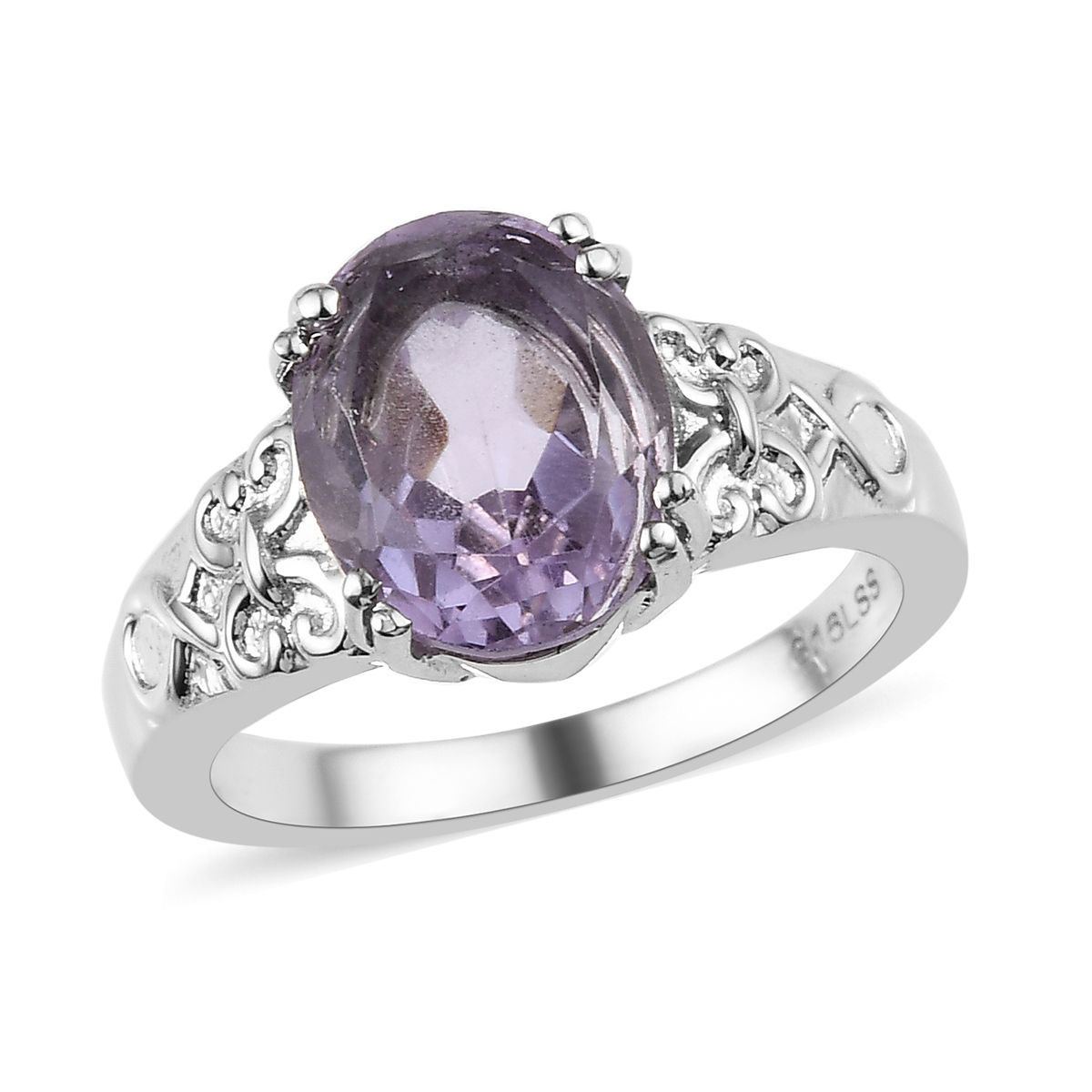 Shop LC Delivering Joy 5 Stone Ring Stainless Steel Oval Amethyst Jewelry for Women Ct 1