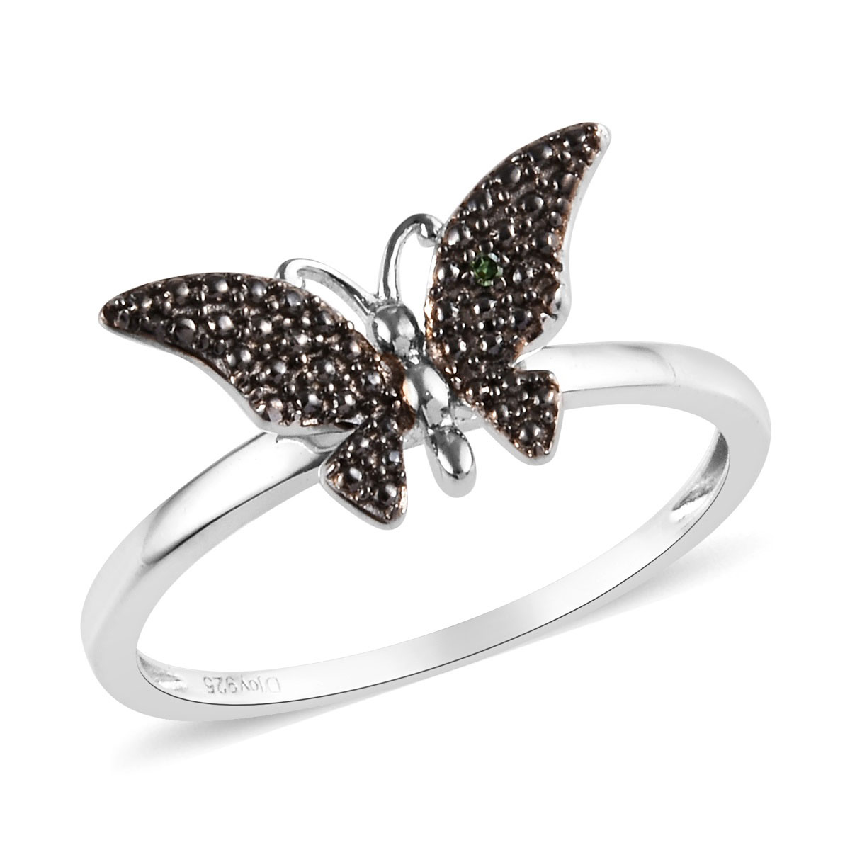 Mystic Topaz Butterfly Genuine Sterling Silver Rhodium Finished Ring