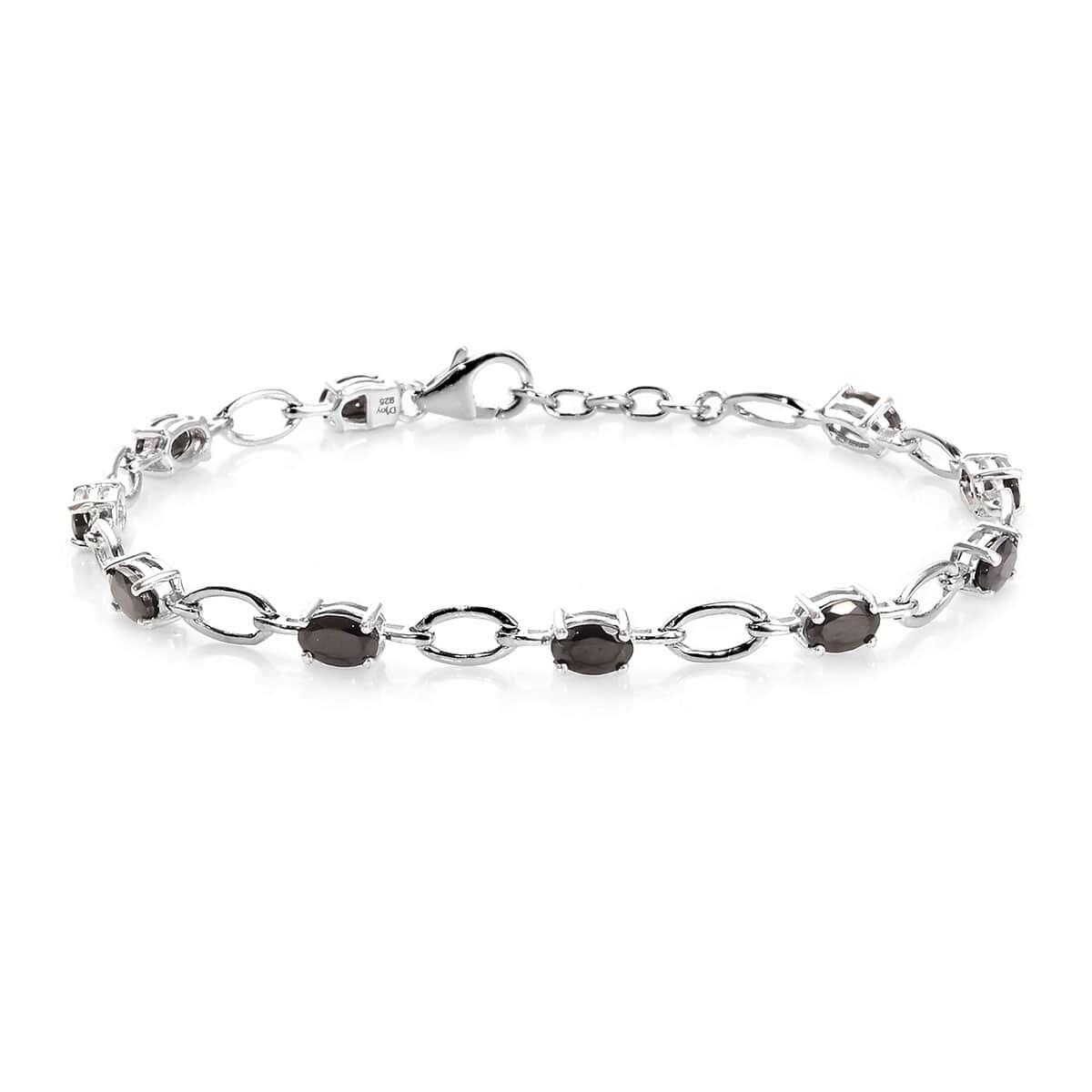 Sterling Silver Platinum Plated Shungite Zircon Tennis Bracelet 7.25/'/'