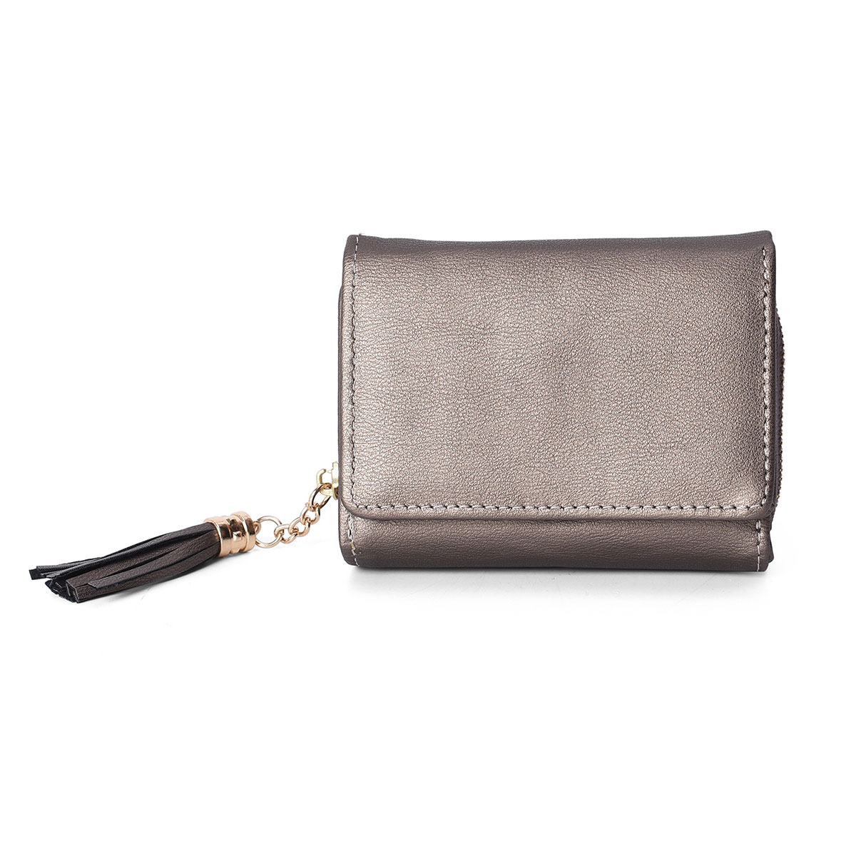 Faux Leather Wristlet Zippered Snap Closure Cell Phone Holder