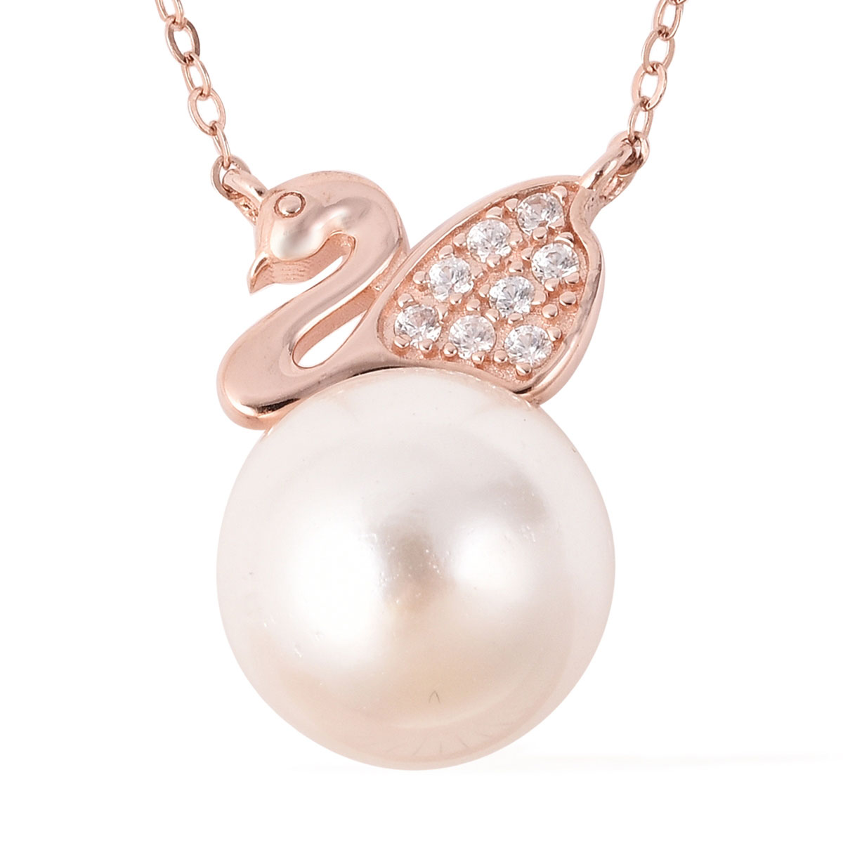 Jewels Obsession Swan Necklace Rhodium-plated 925 Silver Swan Pendant with 18 Necklace