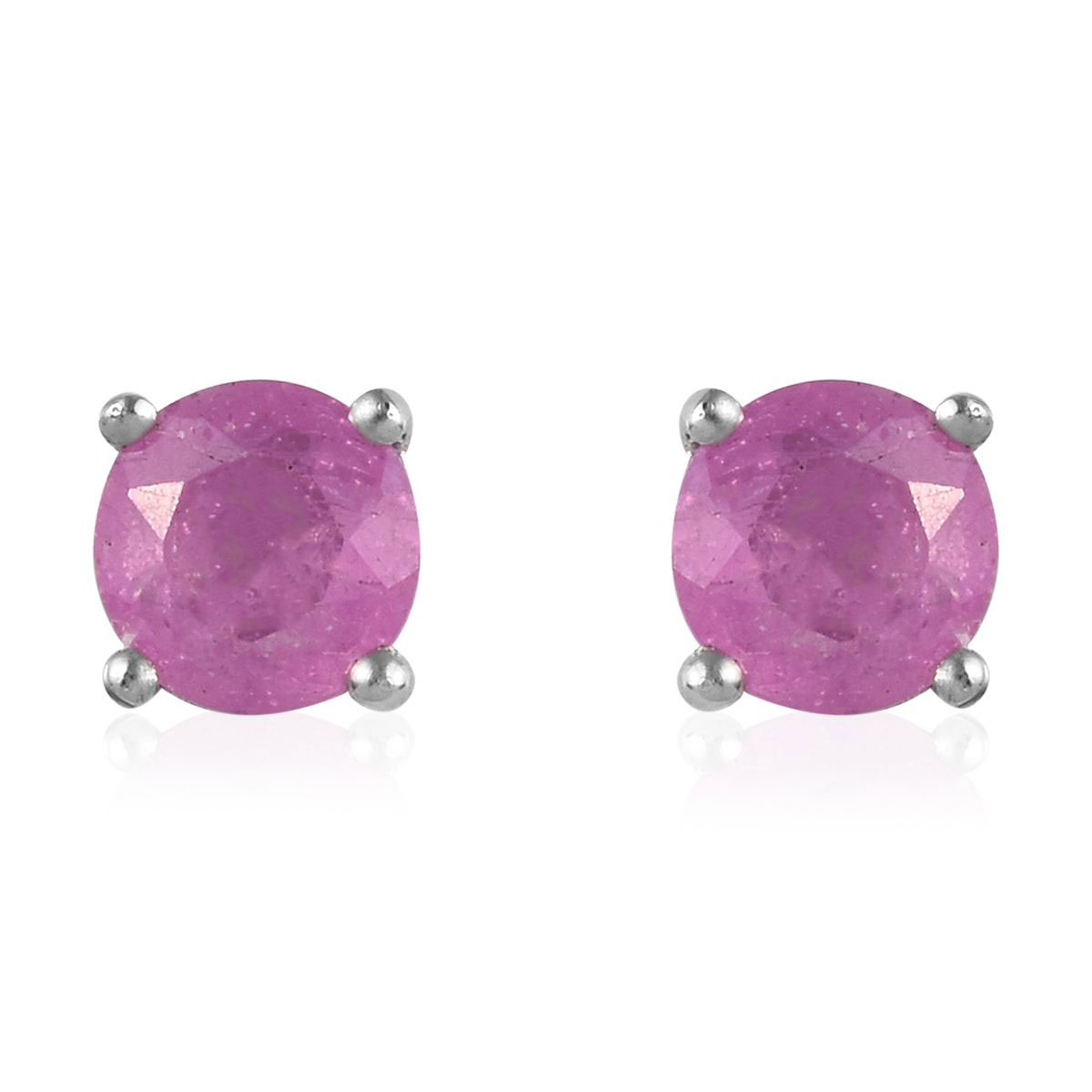 Pink Rose Quartz Sterling Silver Plated Stud// Earring 10 mm Ethnic Wear Handmade Jewelry
