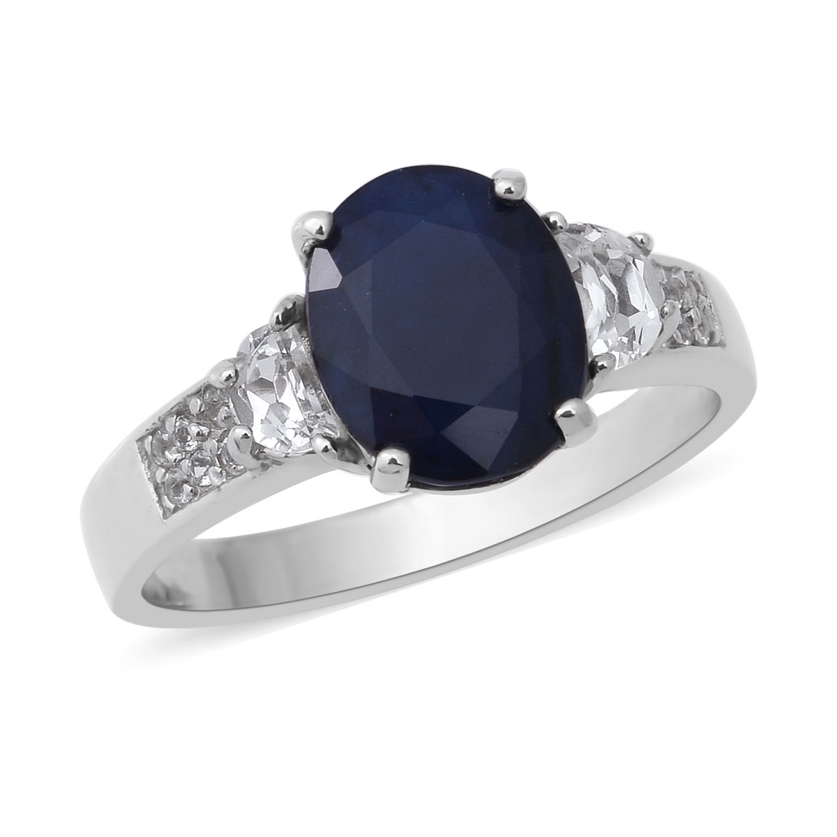 Shop LC Delivering Joy Solitaire Ring Oval Sky Blue Topaz Jewelry for Women Size 11 Ct 3.4