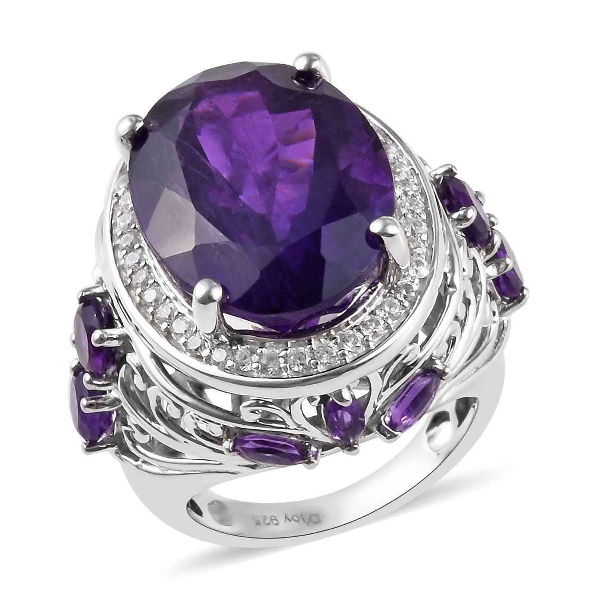 Sizable Handmade Jewelry Purple Amethyst Quartz Sterling Silver Overlay Ring Size 5.5 US Gorgeous