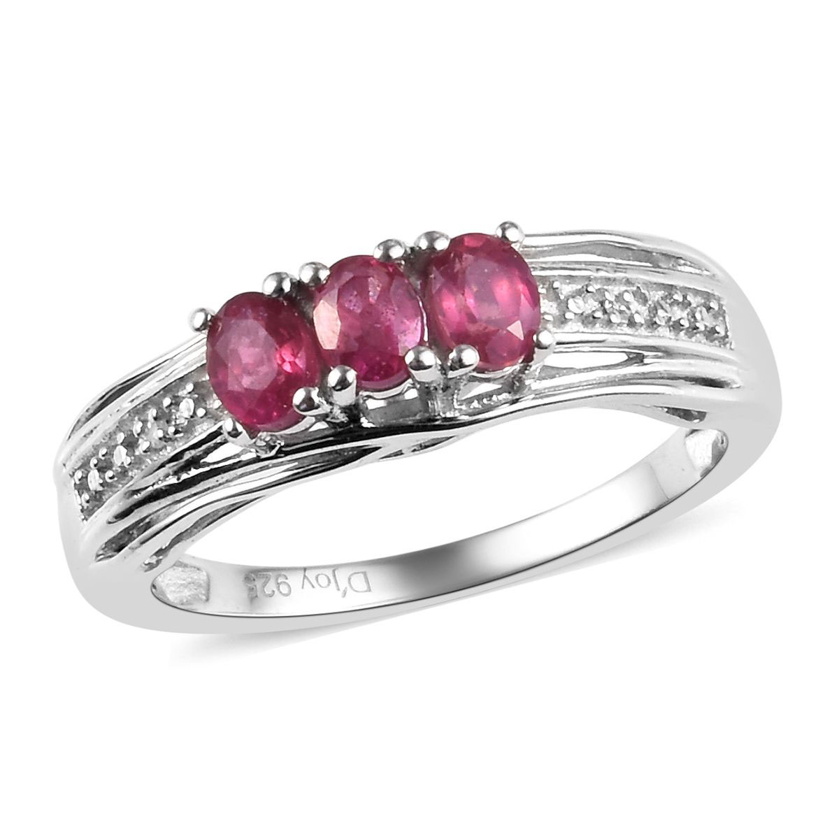 Shop LC Delivering Joy Solitaire Ring Stainless Steel Oval Thulite Jewelry for Women Size 6