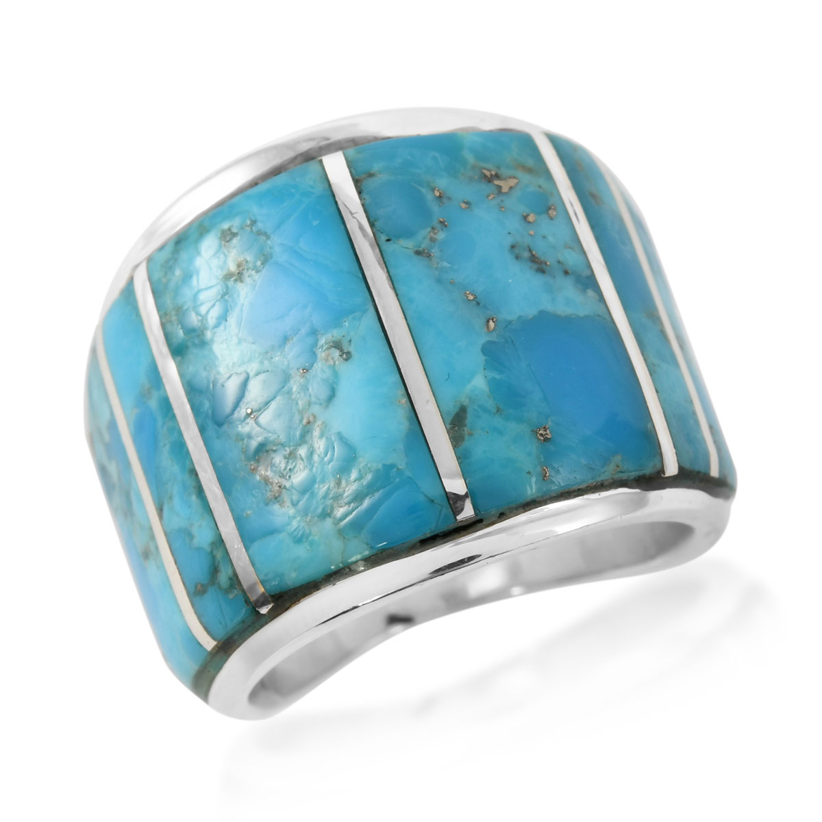 Santa Fe Style Kingman Turquoise Ring In Sterling Silver Size 7 0