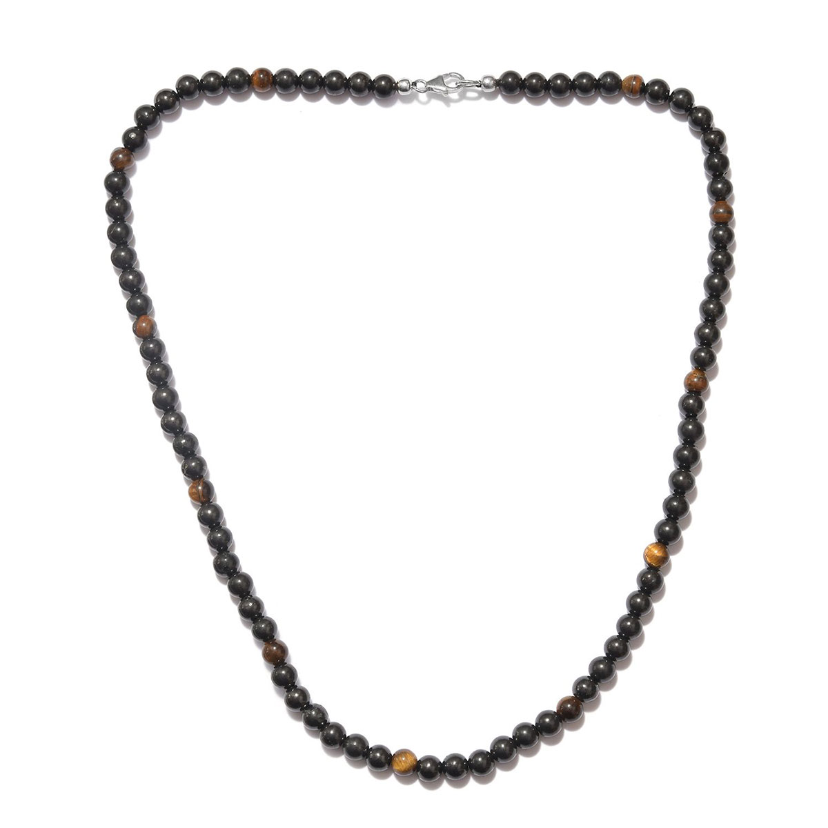 24 Inch 925 Sterling Silver Rhodium-plated Lobster Claw Closure Rhodium Plated Black Tigers Eye Necklace