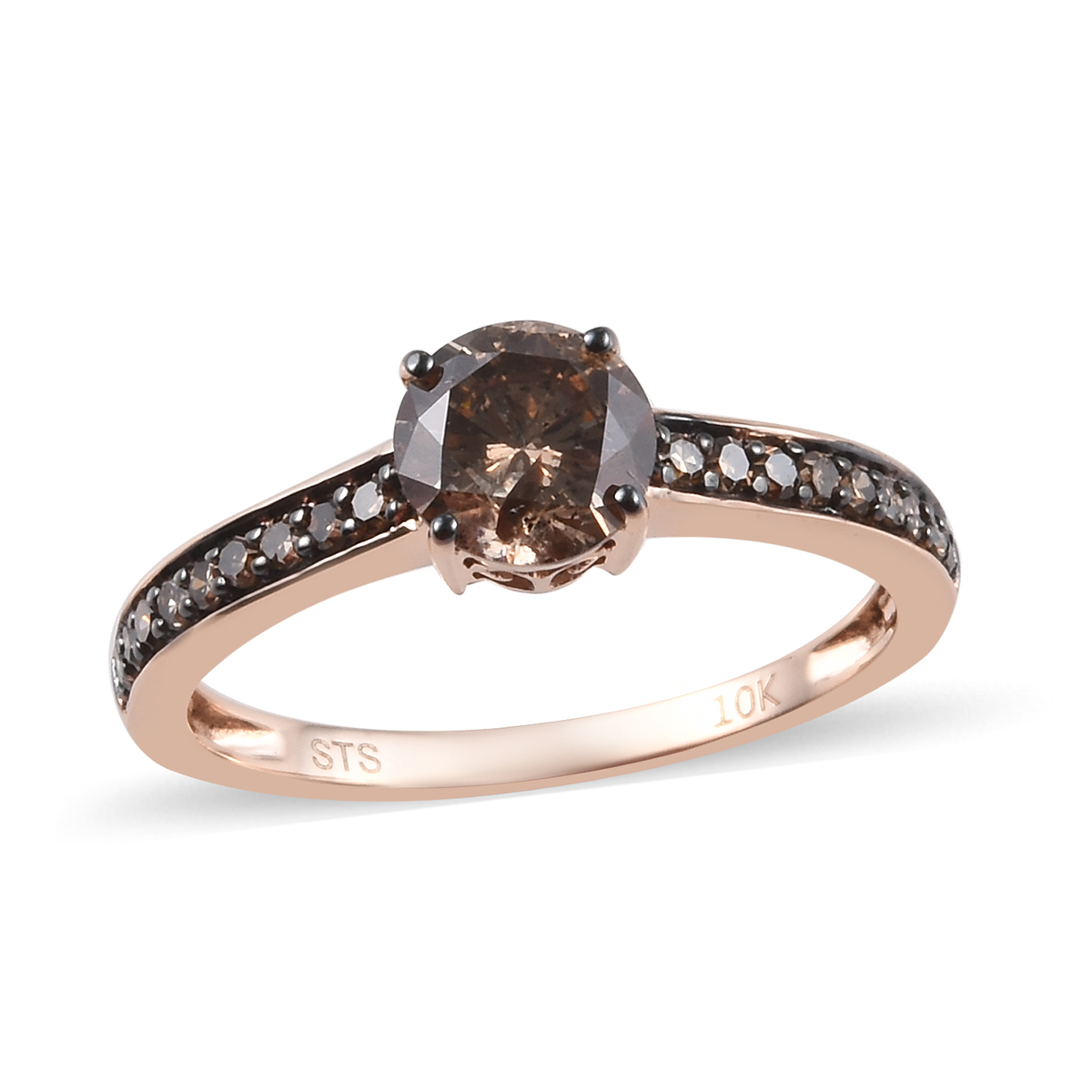 1 Ctw Natural Champagne Diamond Ring In 10K Rose Gold 1.80
