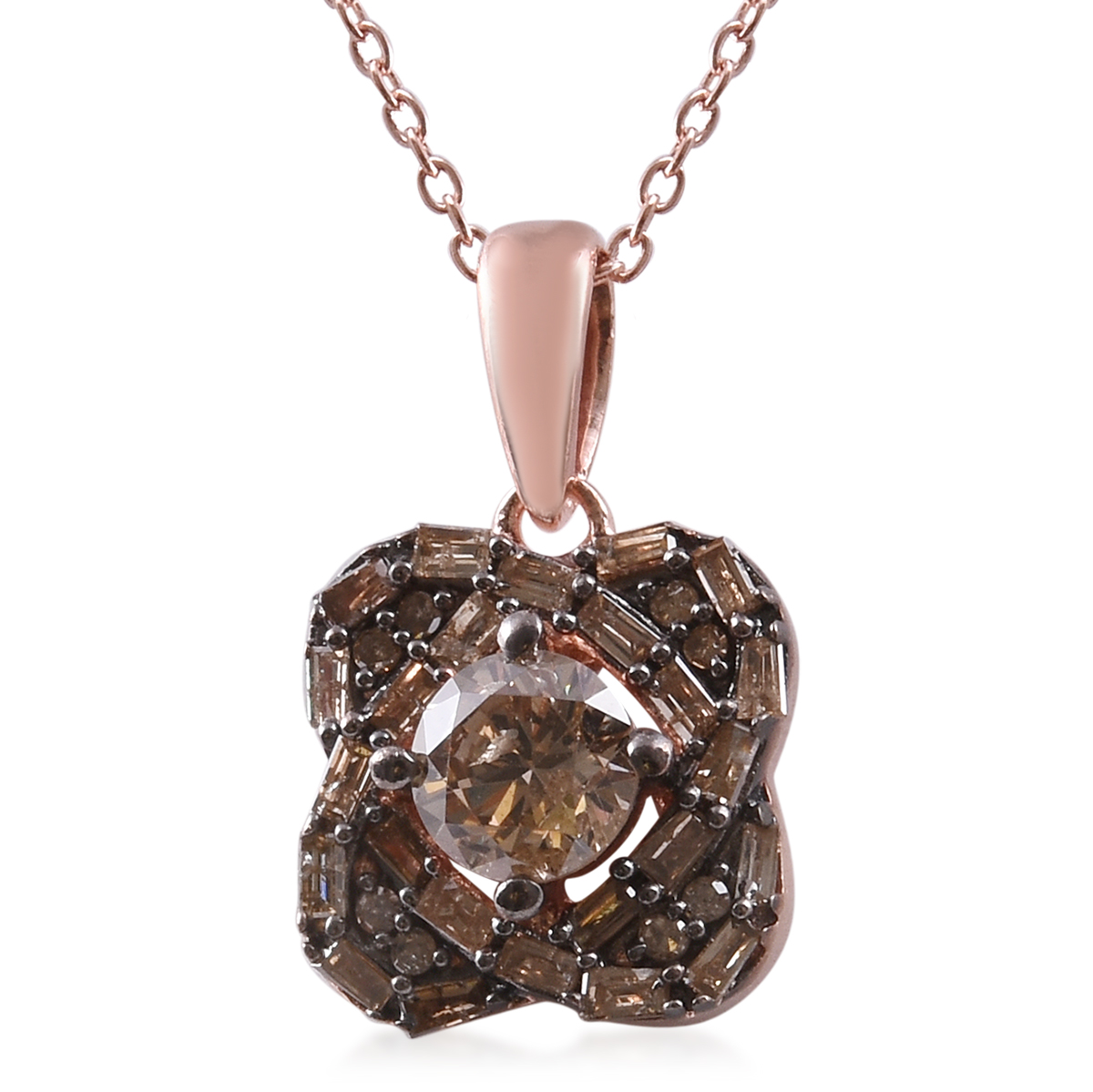 16 mm Jewels Obsession 14K White Gold Champagne Pendant