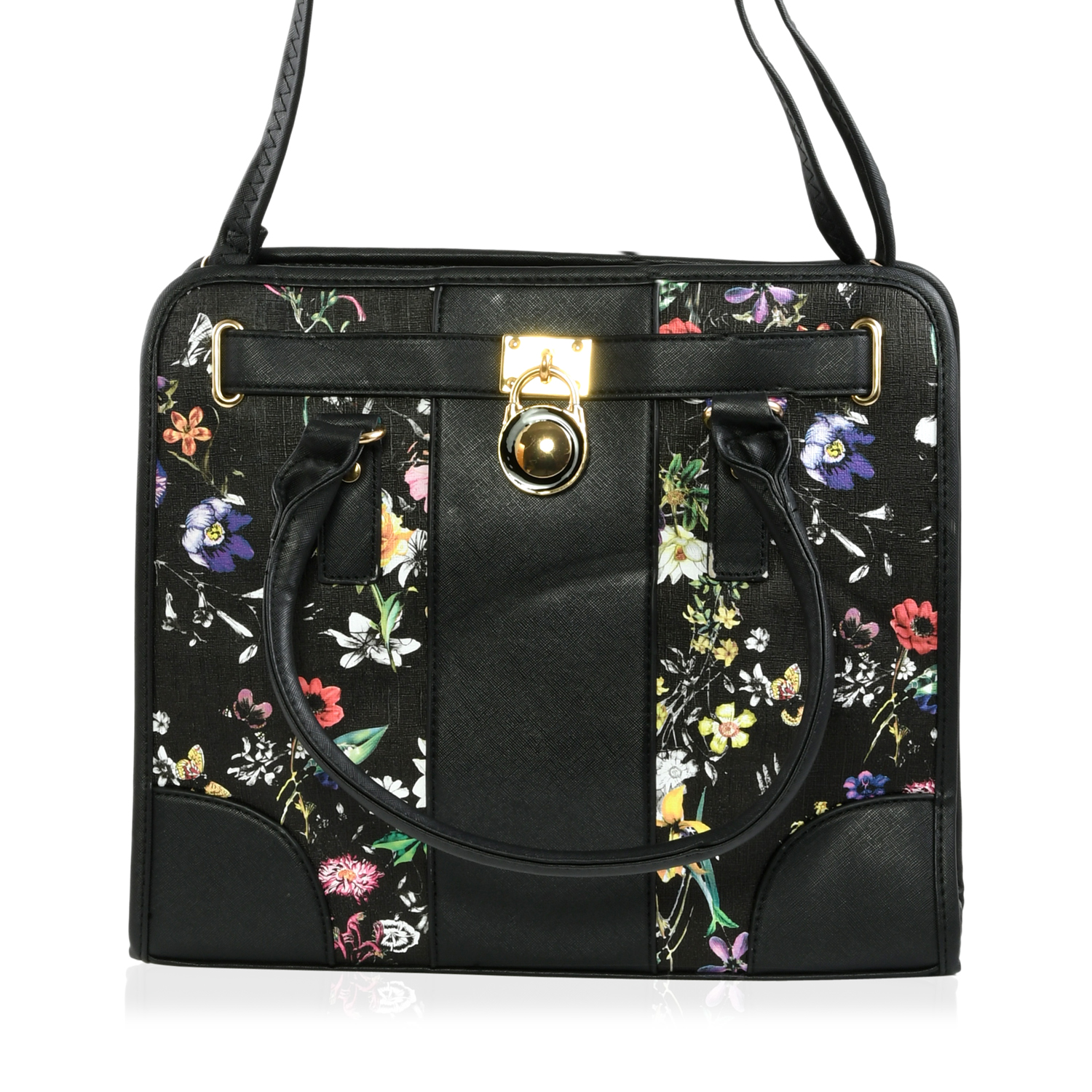Black Fl Print Faux Leather Tote