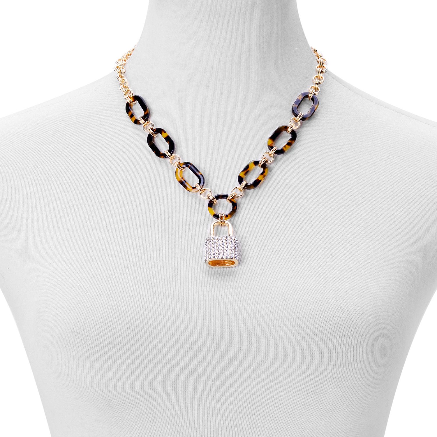 Austrian Crystal, Chroma Goldtone and ION Plated YG Stainless Steel Lock Necklace (18-23 in)