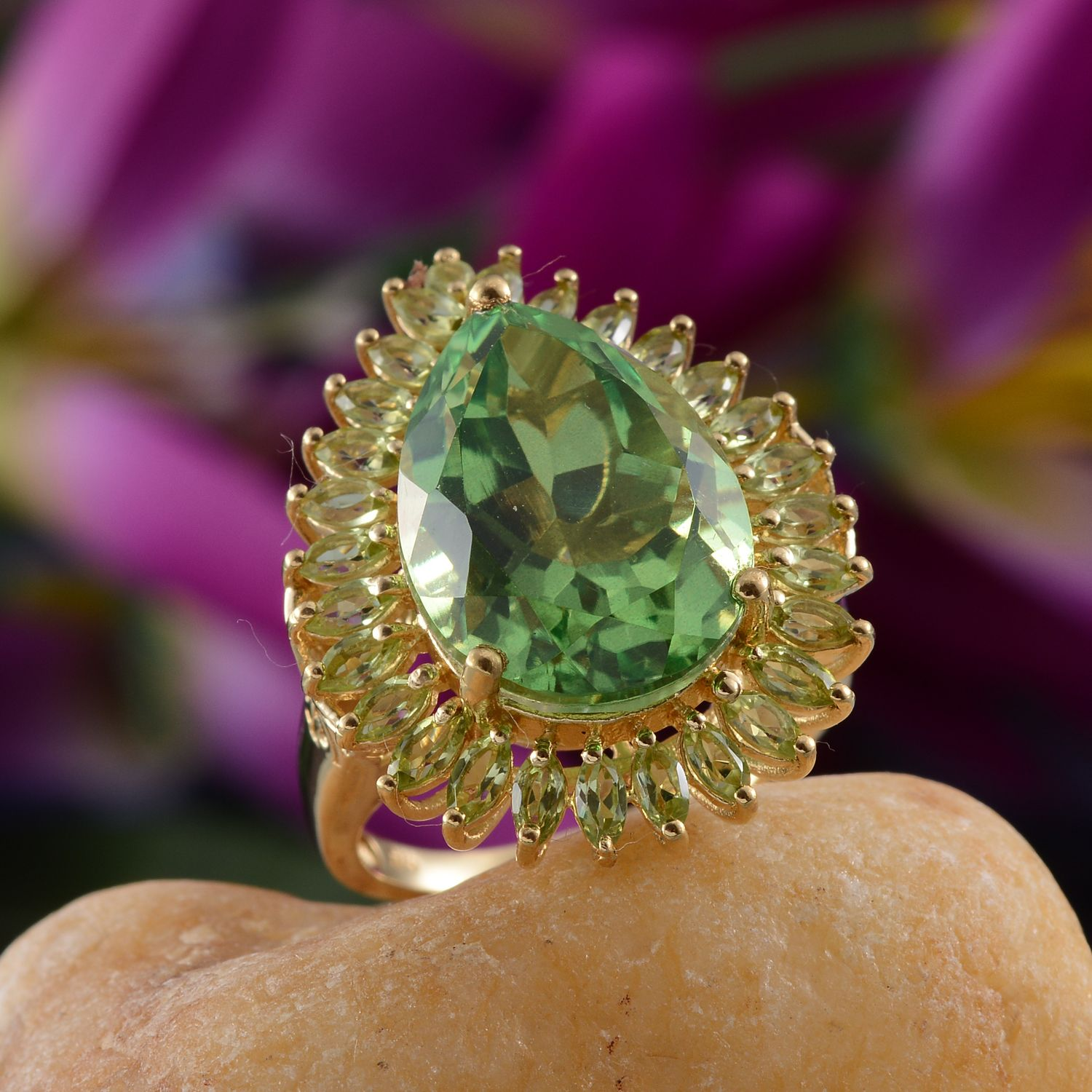 Chartreuse Quartz, Hebei Peridot 14K YG Over Sterling Silver Ring (Size 7.0) TGW 15.350 cts.