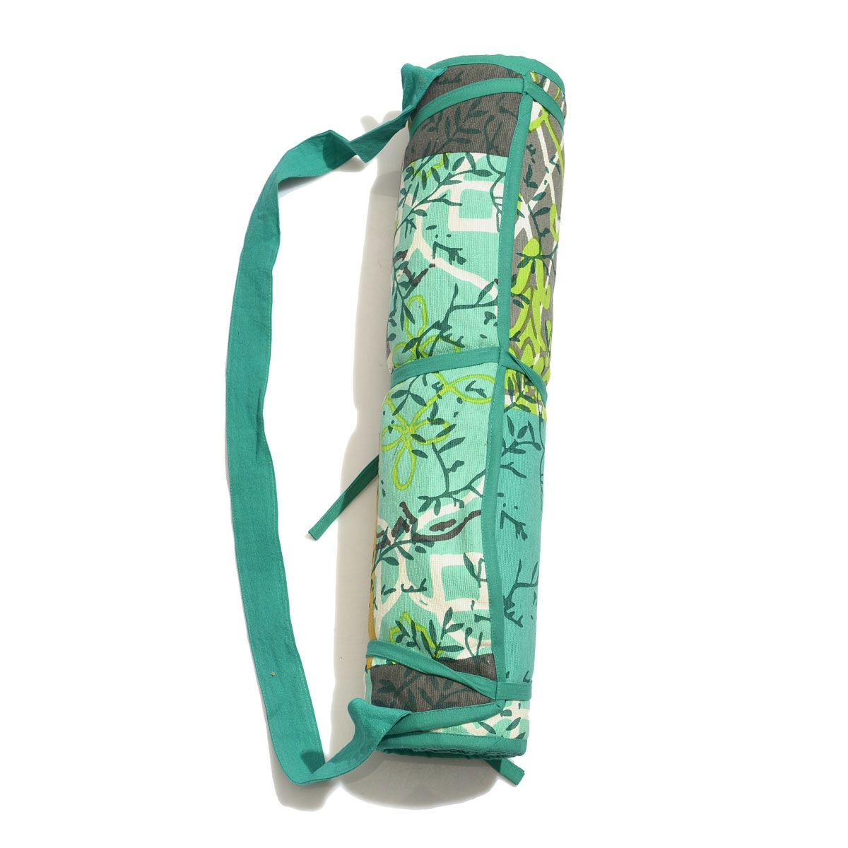 Green Patch Print Cotton Yoga Mat (70x20 in)