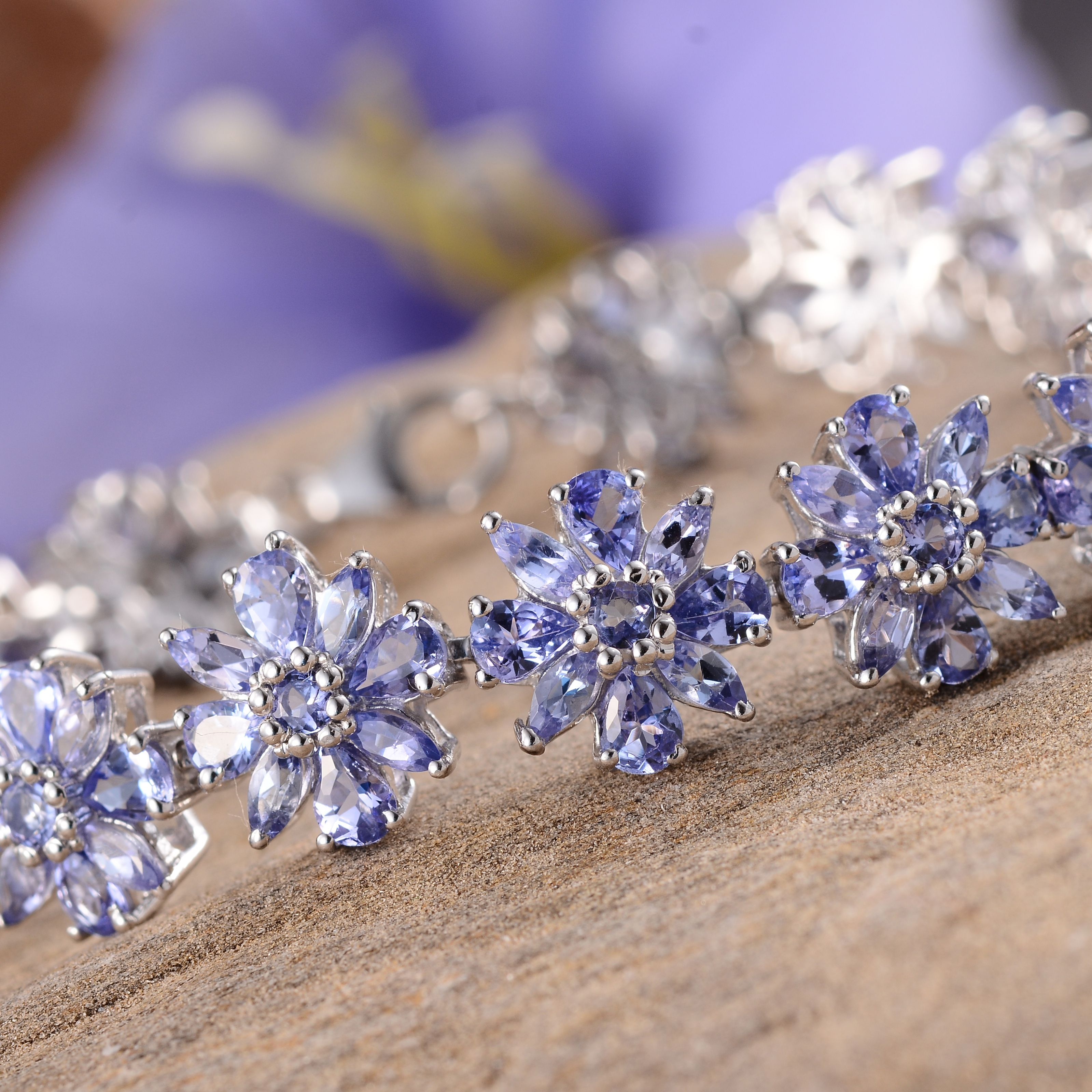 Tanzanite Platinum Over Sterling Silver Bracelet (7.50 In) TGW 18.19 cts.