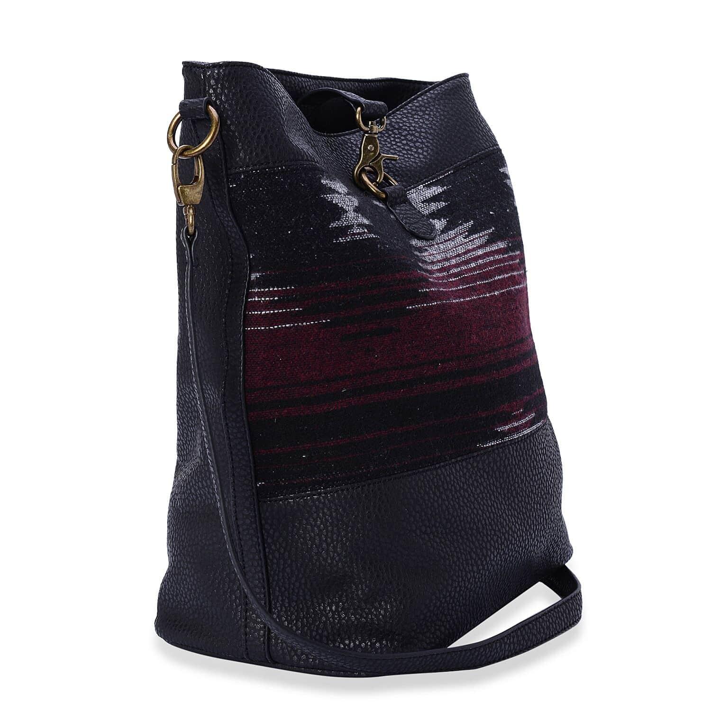 J Francis - Black Faux Leather Crossbody Bag (12x7x14 in)