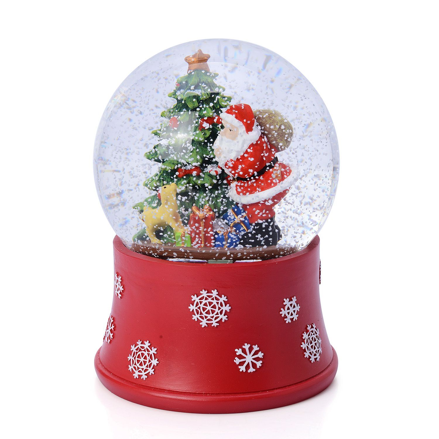 LED Light Santa Snowglobe with Automatic Snow Blower (6 in)