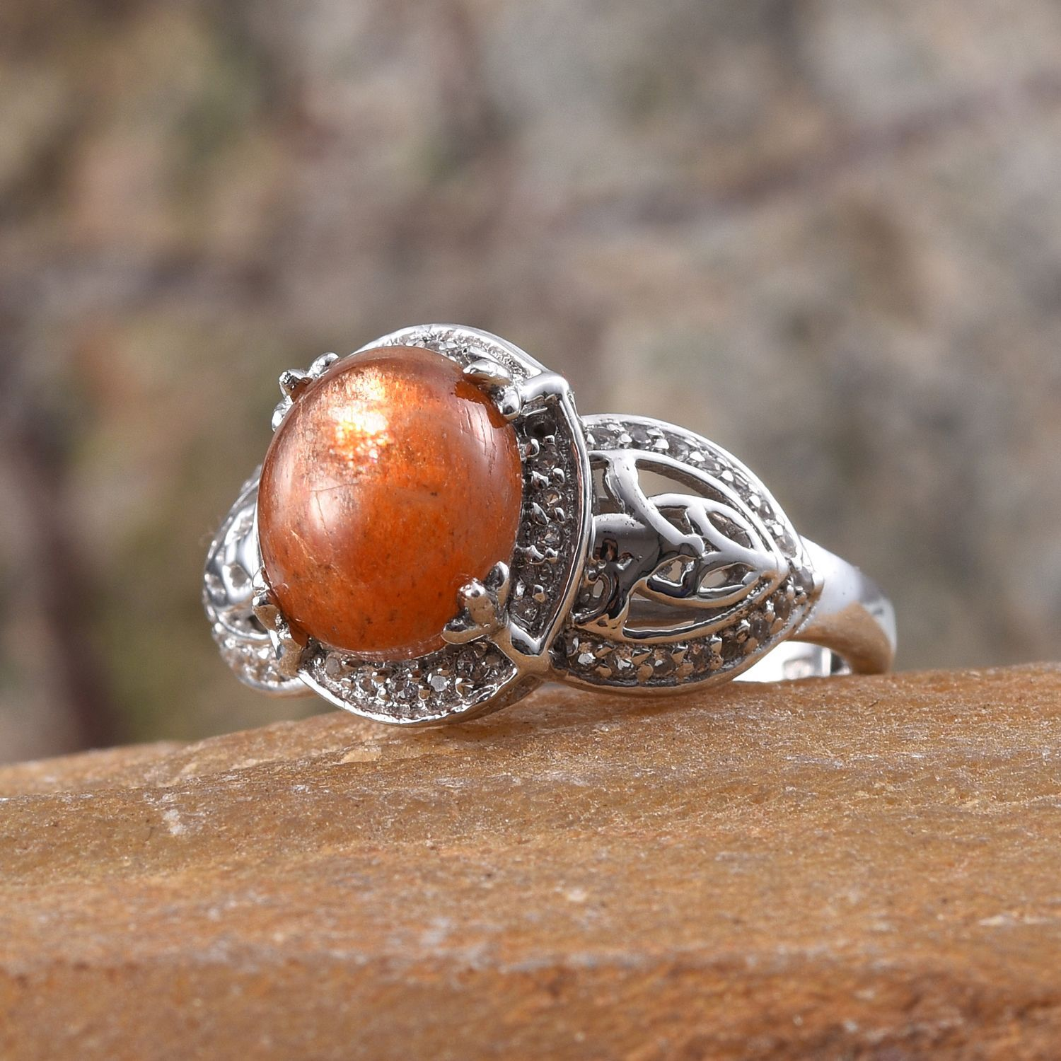 Madras Sunstone, White Topaz Platinum Over Sterling Silver Ring (Size 8.0) TGW 3.250 cts.