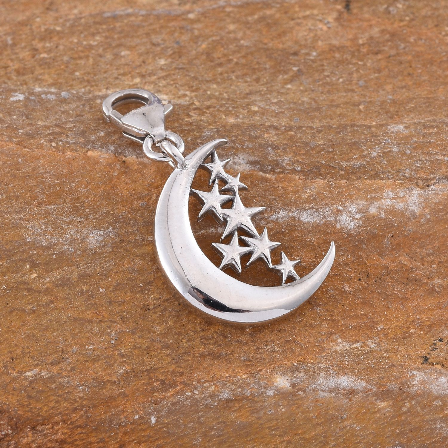Hidden Treasures Moon with Stars Charm Platinum Over Sterling Silver