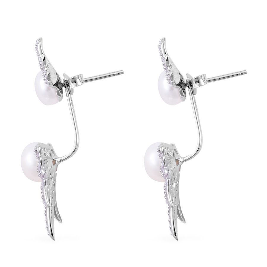 Freshwater Pearl, Simulated Diamond Sterling Silver Earrings TGW 15.00 Cts.