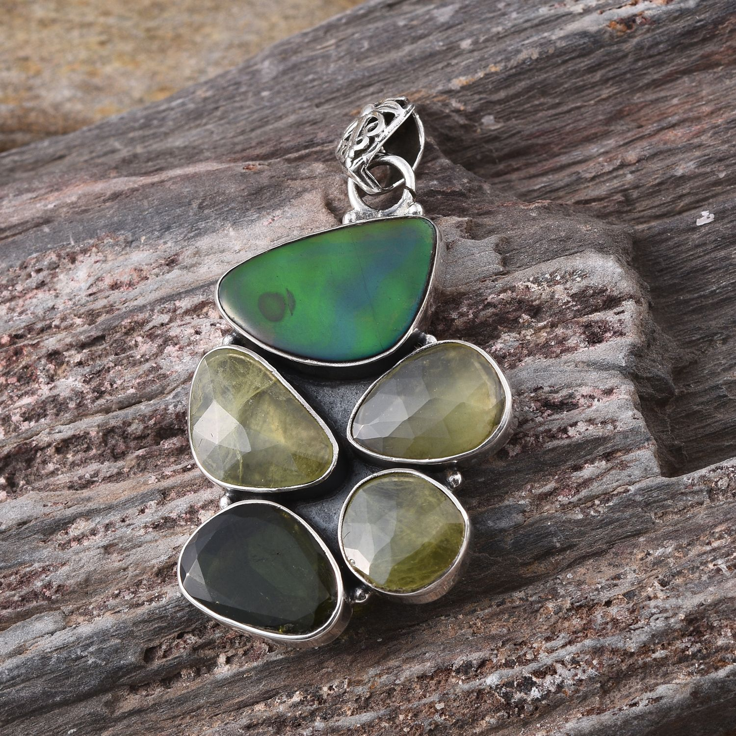 Artisan Crafted Canadian Ammolite, Green Tourmaline, Madagascar Sphene Sterling Silver Pendant without Chain TGW 15.940 cts.