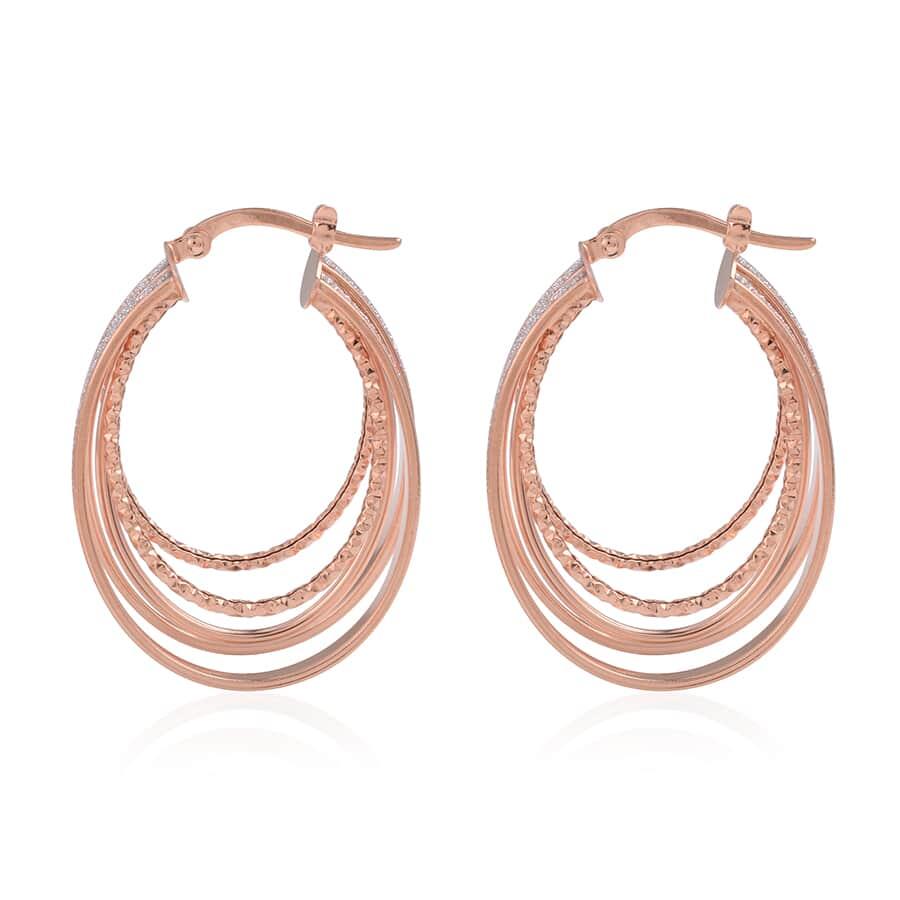 Dall' Italia 14K RG Hoop Earrings (4.9 g)