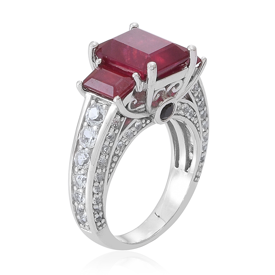 Niassa Ruby, White Topaz, Thai Black Spinel Ring in Sterling Silver (Size 8.0) 8.36 ctw