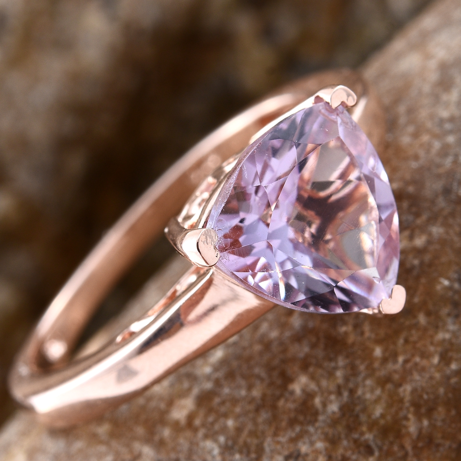 Rose De France Amethyst 14K RG Over Sterling Silver Solitaire Ring (Size 7.0) TGW 3.30 cts.