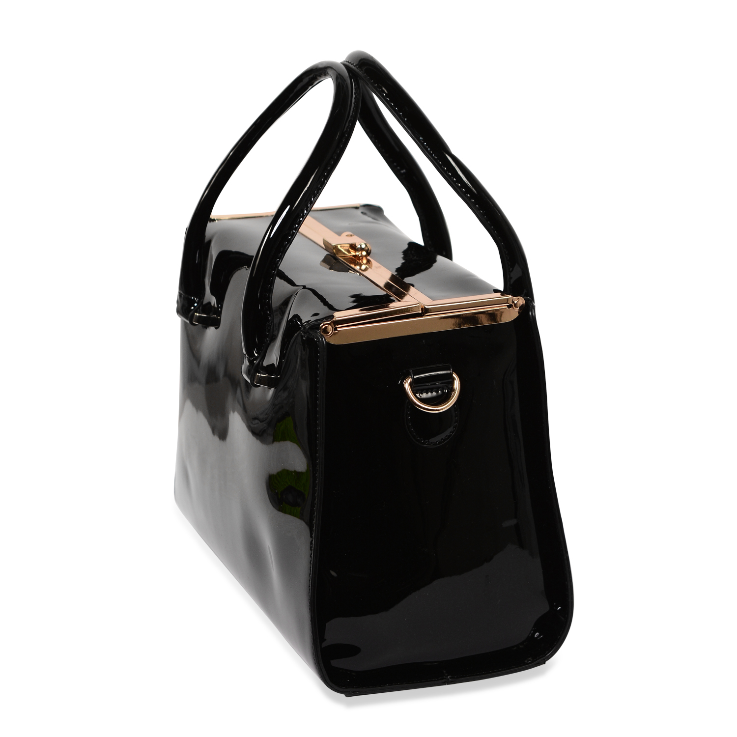 J Francis - Black Faux Leather Tote Bag (13x6x9 in)