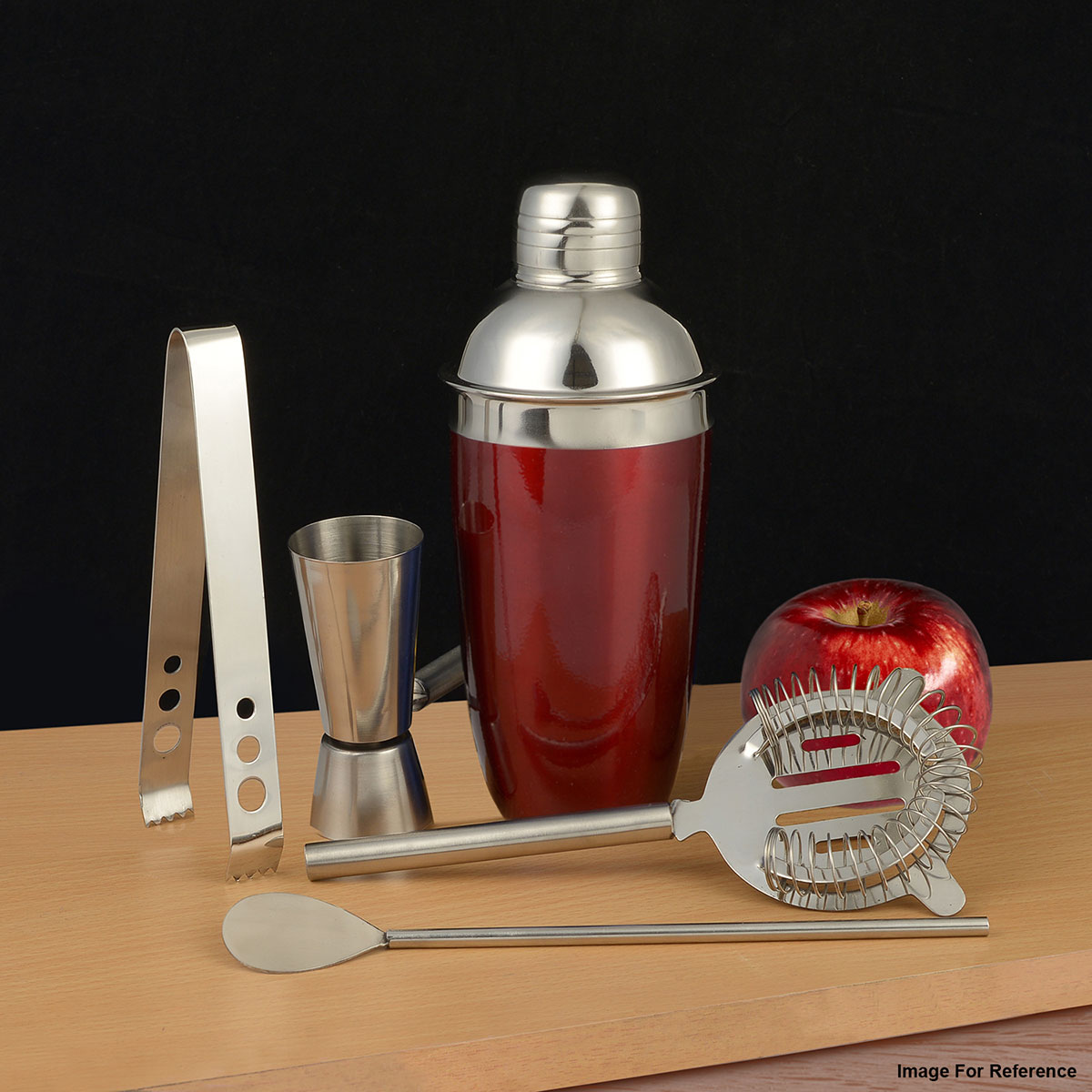 Red Stainless Steel Bar Set (Cocktail Shaker, Strainer Top, Jigger, Bar Spoon, Ice Tongs)