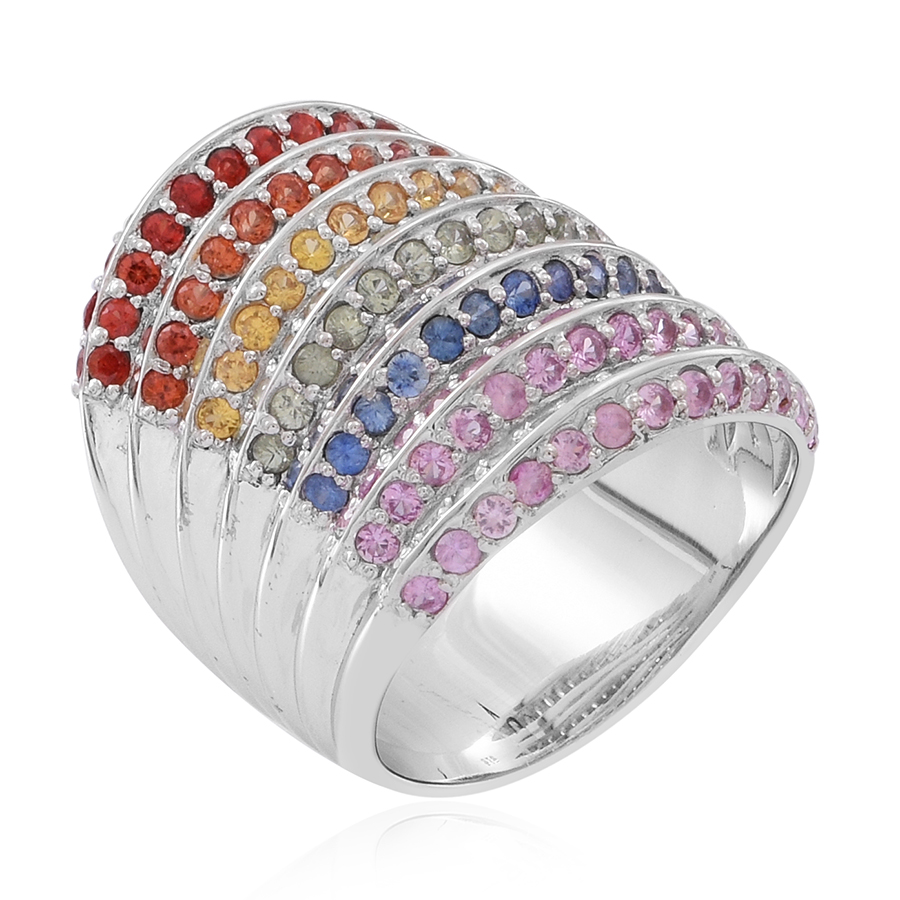 Multi Sapphire Elongated Rainbow Ring in Sterling Silver (Size 10.0) 9.40 ctw