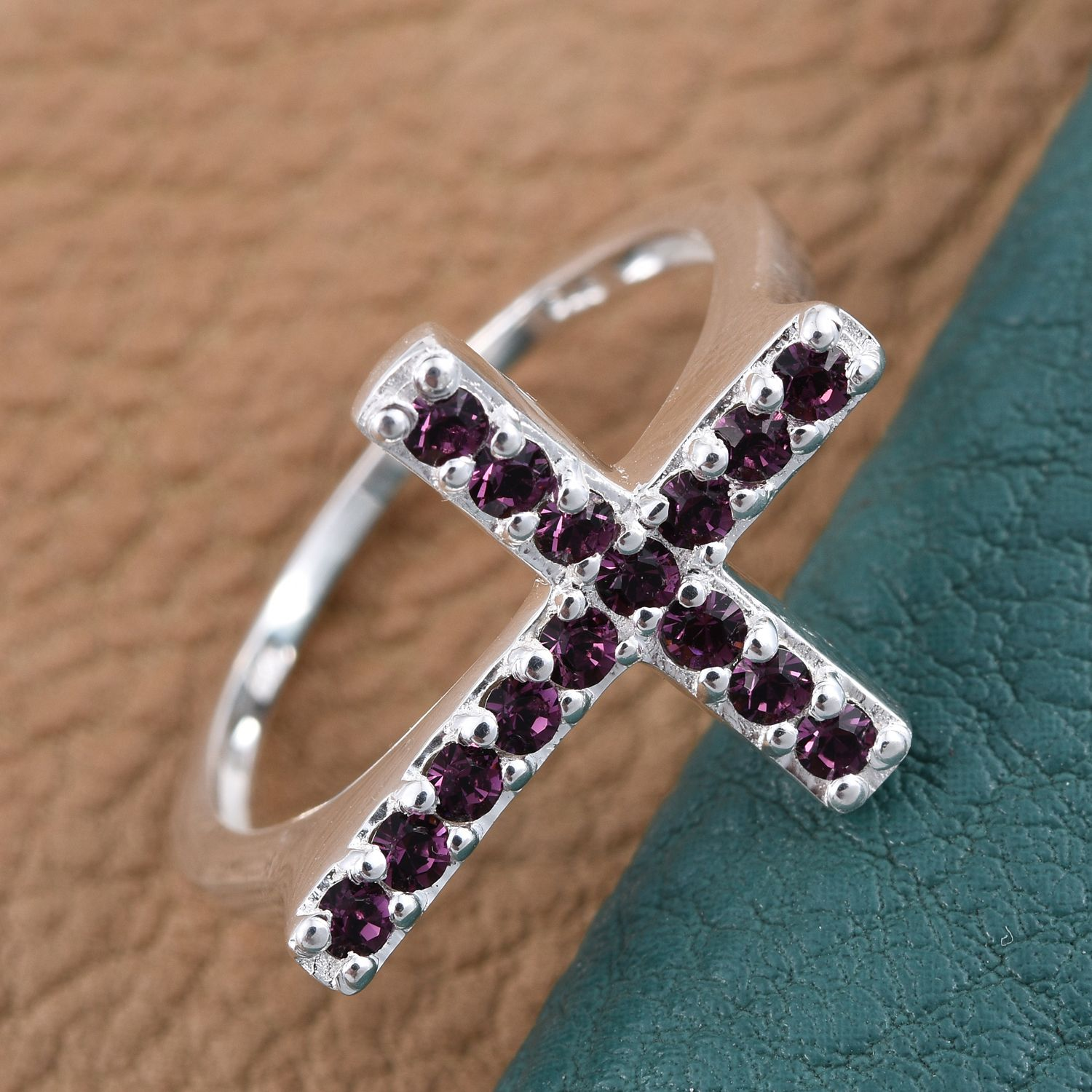 12e4bfe8e ... Sterling Silver Side Cross Ring (Size 7.0) Made with SWAROVSKI Purple  Crystal TGW 0.41 ...