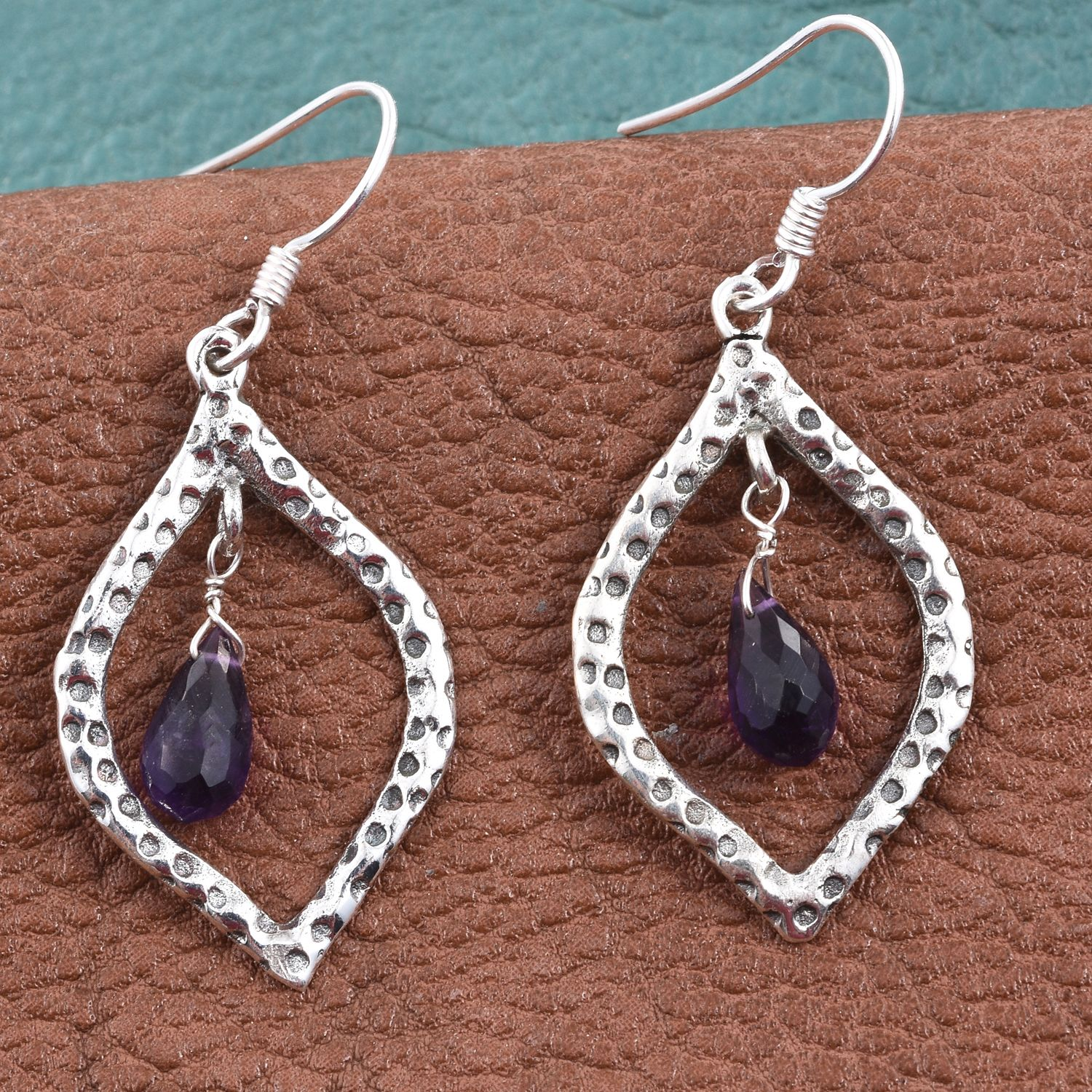 Artisan Crafted Amethyst Sterling Silver Dangle Earrings TGW 2.88 cts.