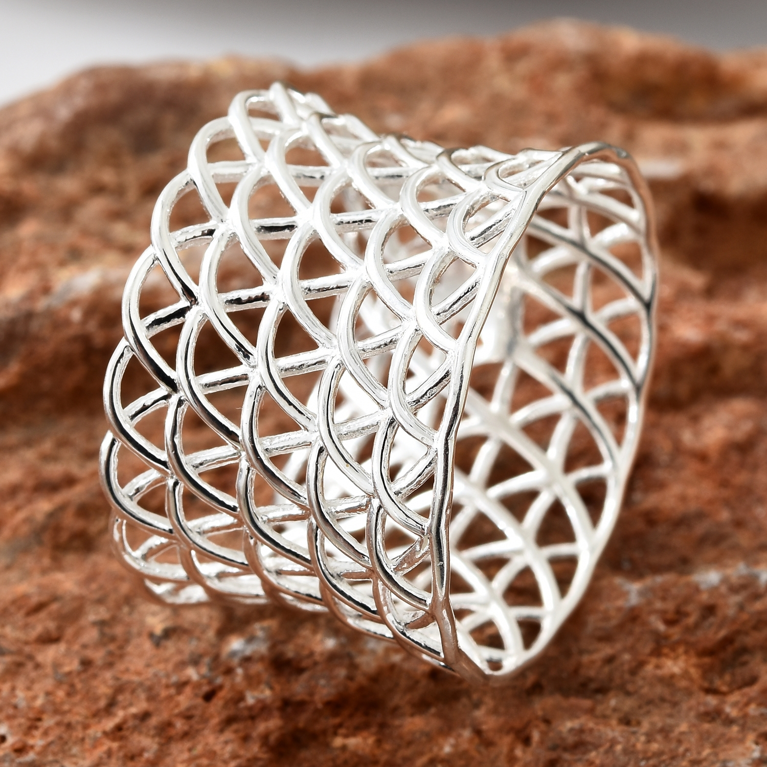 Sterling Silver Weaved Elongated Concave Band Ring (Size 6.0) (3.5 g)