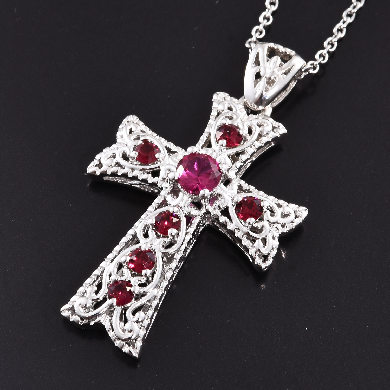 KARIS Collection - Lab Created Ruby Platinum Bond Brass Cross Pendant With  Stainless Steel Chain (20 in) Made with SWAROVSKI Red Crystal TGW 1 12 cts