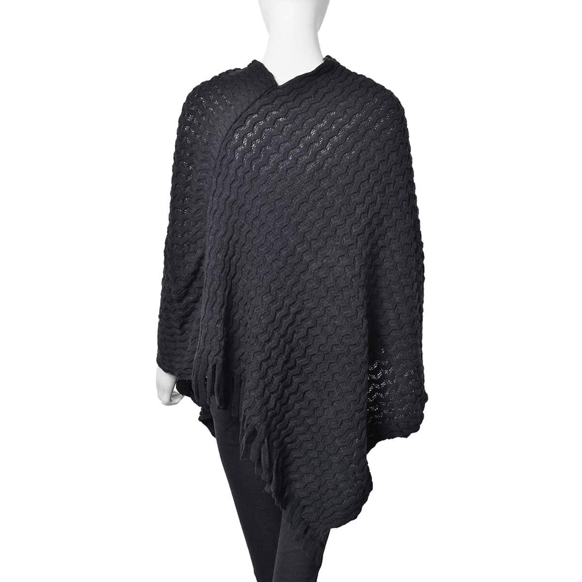 Black 100% Acrylic Wavy Knitted V-Shape Poncho With Fringes (One Size)