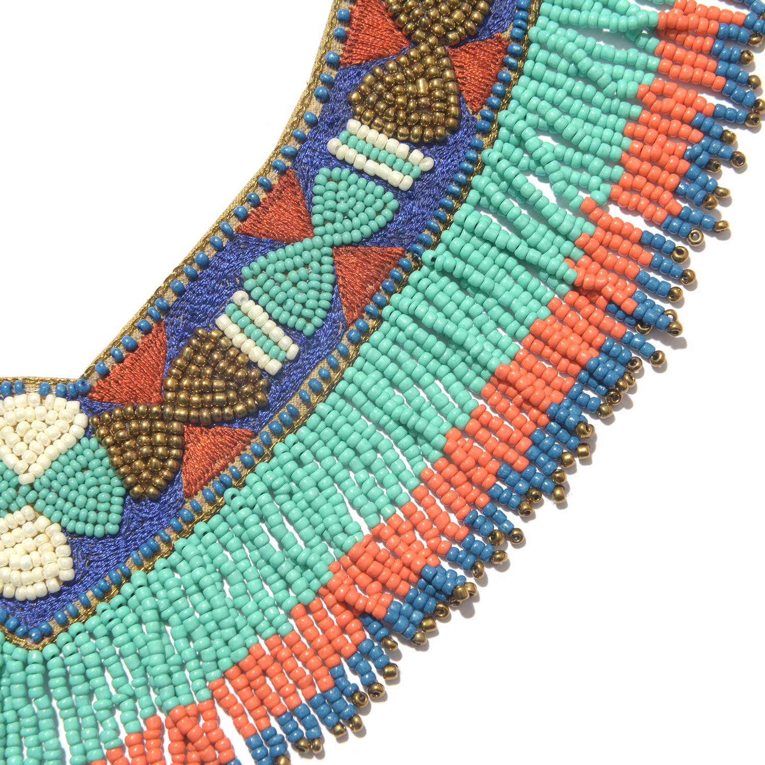 Handcrafted Multi Color Seed Bead and Fabric V-Neck Bib Necklace with Fringes (Adjustable)