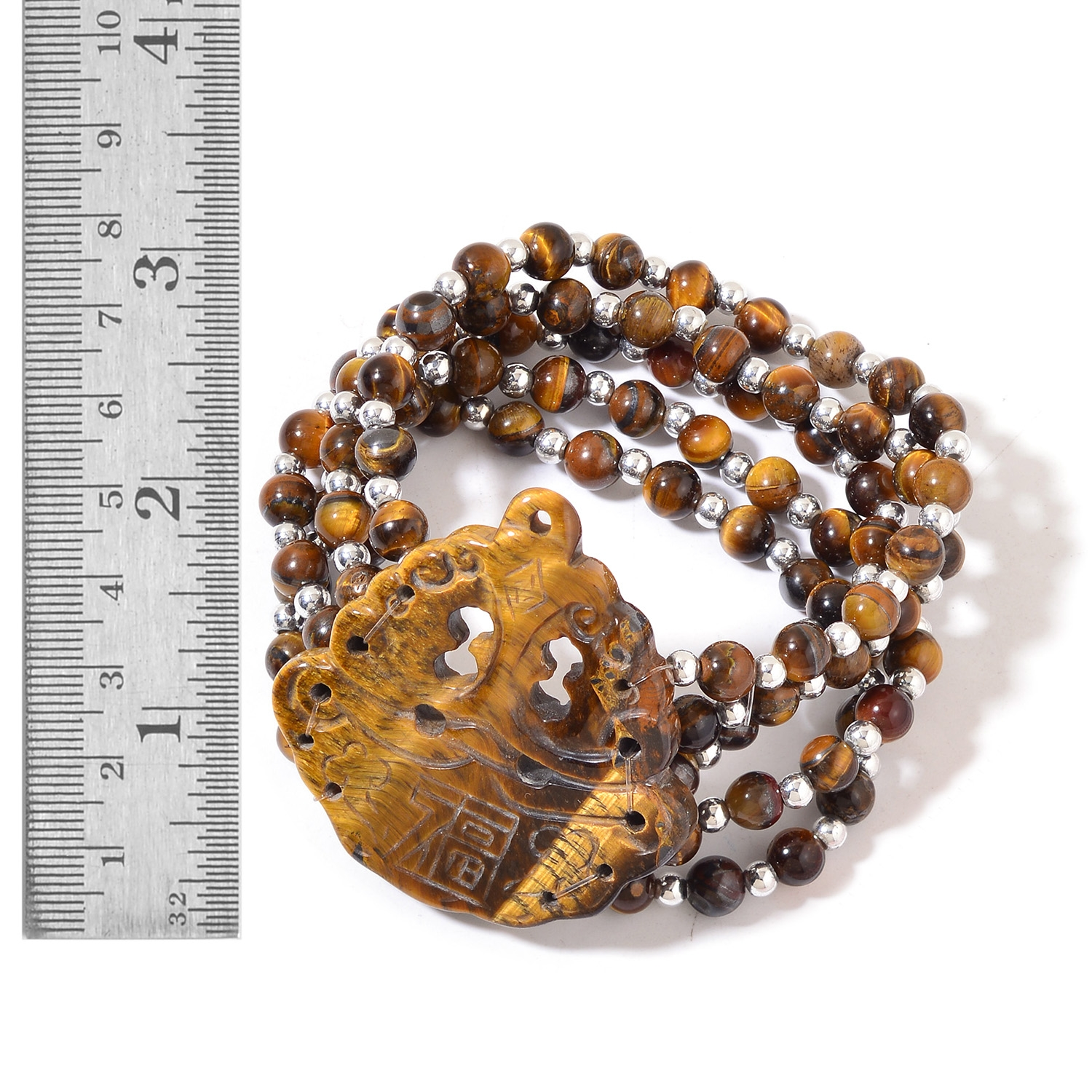 South African Tigers Eye, Chroma Multi Row Good Luck Charm Bracelet  (Stretchable) TGW 277 00 cts