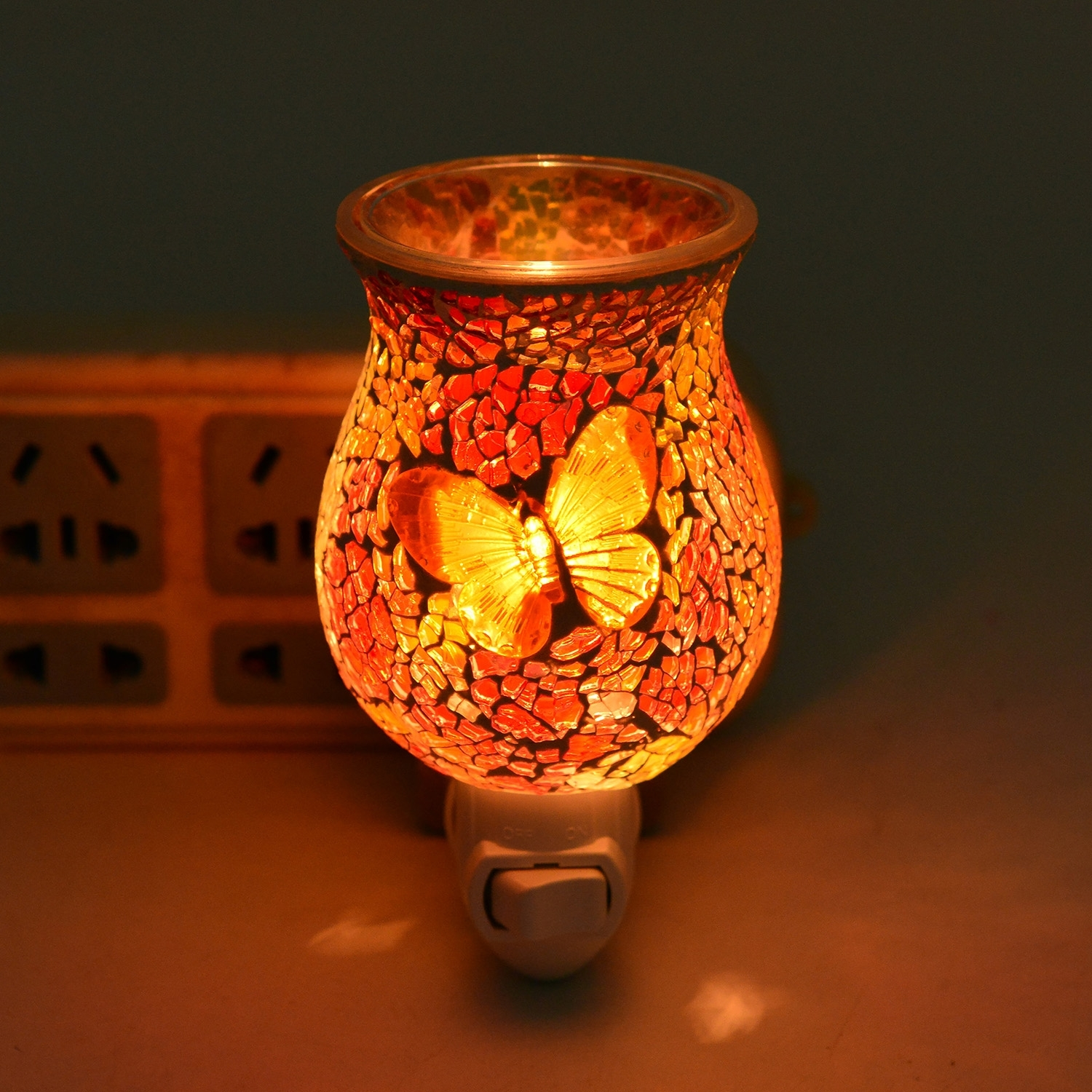 Red and Yellow Butterfly Pattern Mosaic Glass Night Light (4.5x1.5 in)
