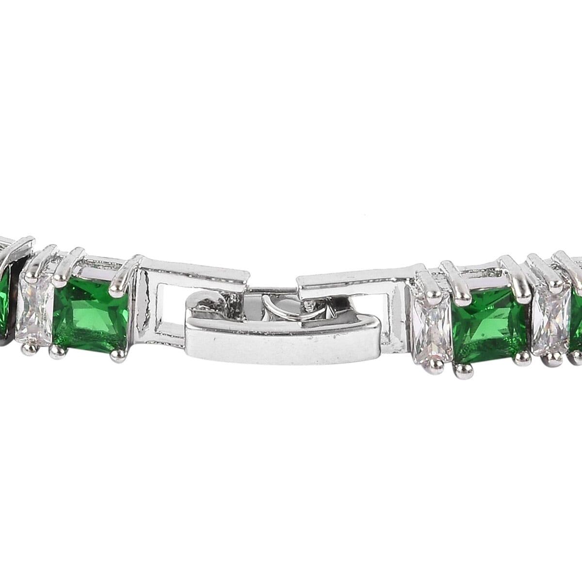 Green Glass, White CZ Tennis Bracelet in Silvertone (7.50 In) 5.00 ctw