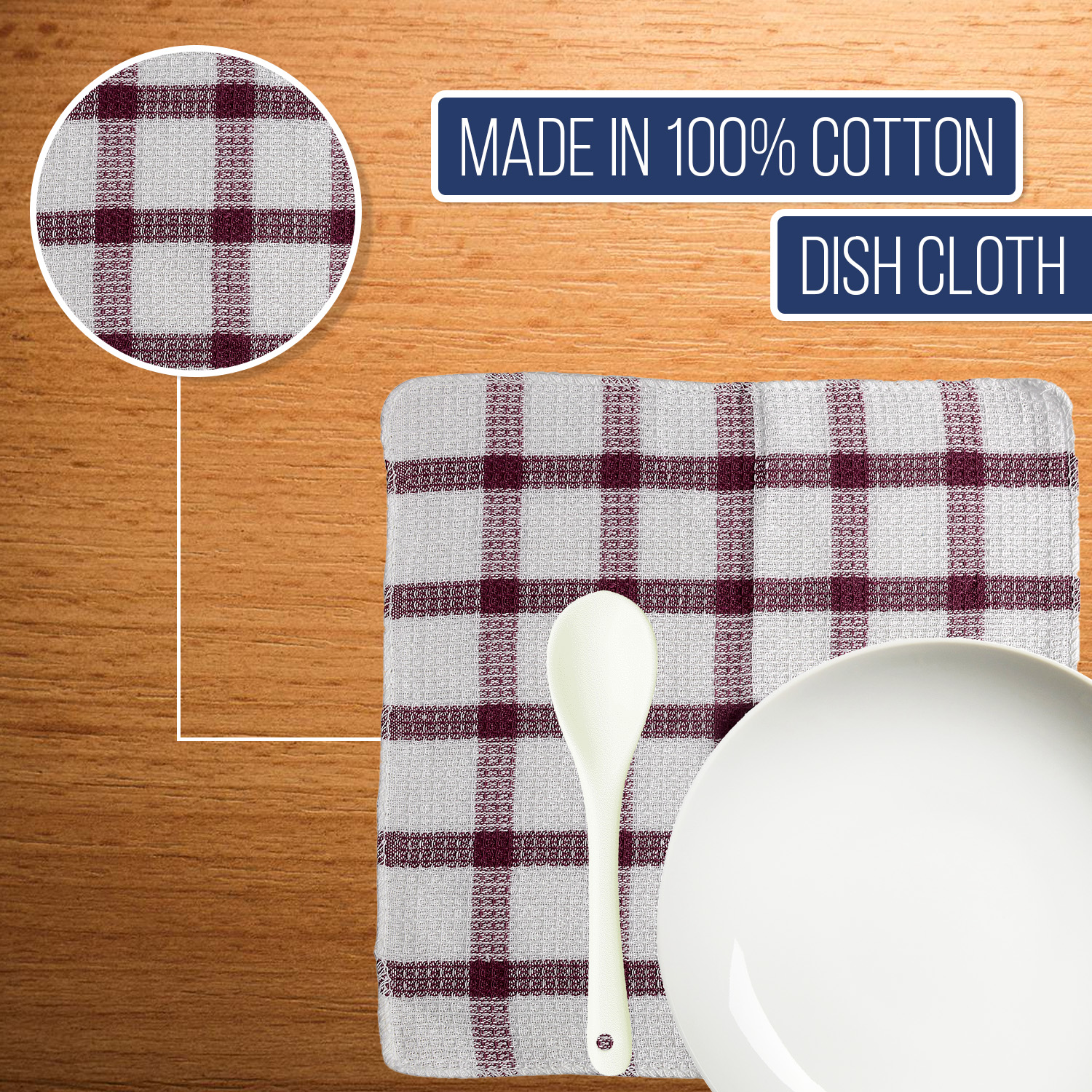 Set-of-24-Checkered-100-Cotton-Dish-Cloth-Kitchen-Cleaning-Cloth thumbnail 18