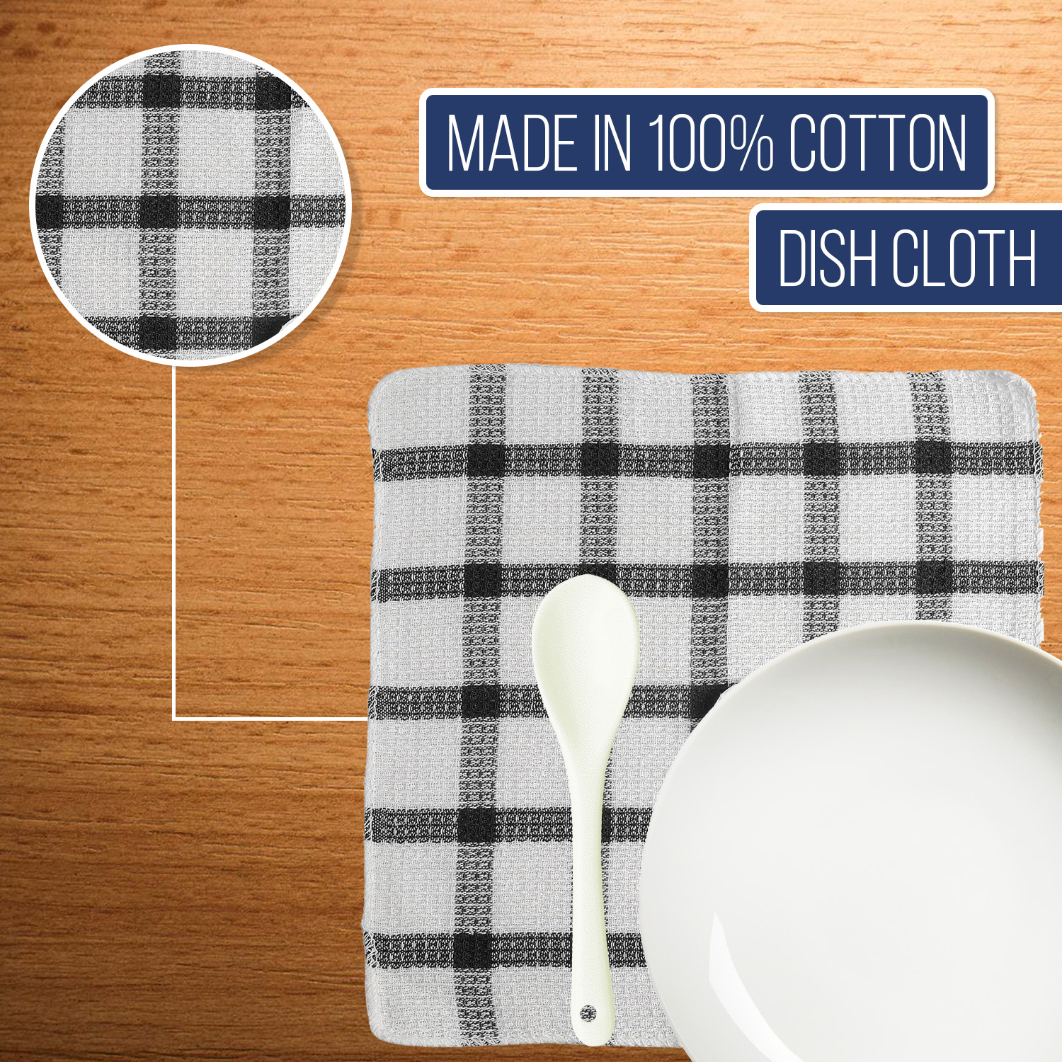 Set-of-24-Checkered-100-Cotton-Dish-Cloth-Kitchen-Cleaning-Cloth thumbnail 10