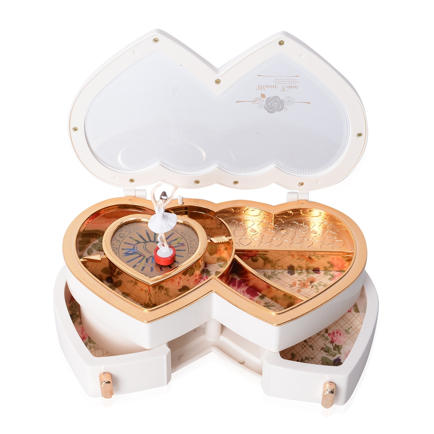thumbnail 17 - Valentine Heart Shape Music Dancing Jewelry Box with Ballerina Magnetic Dancer
